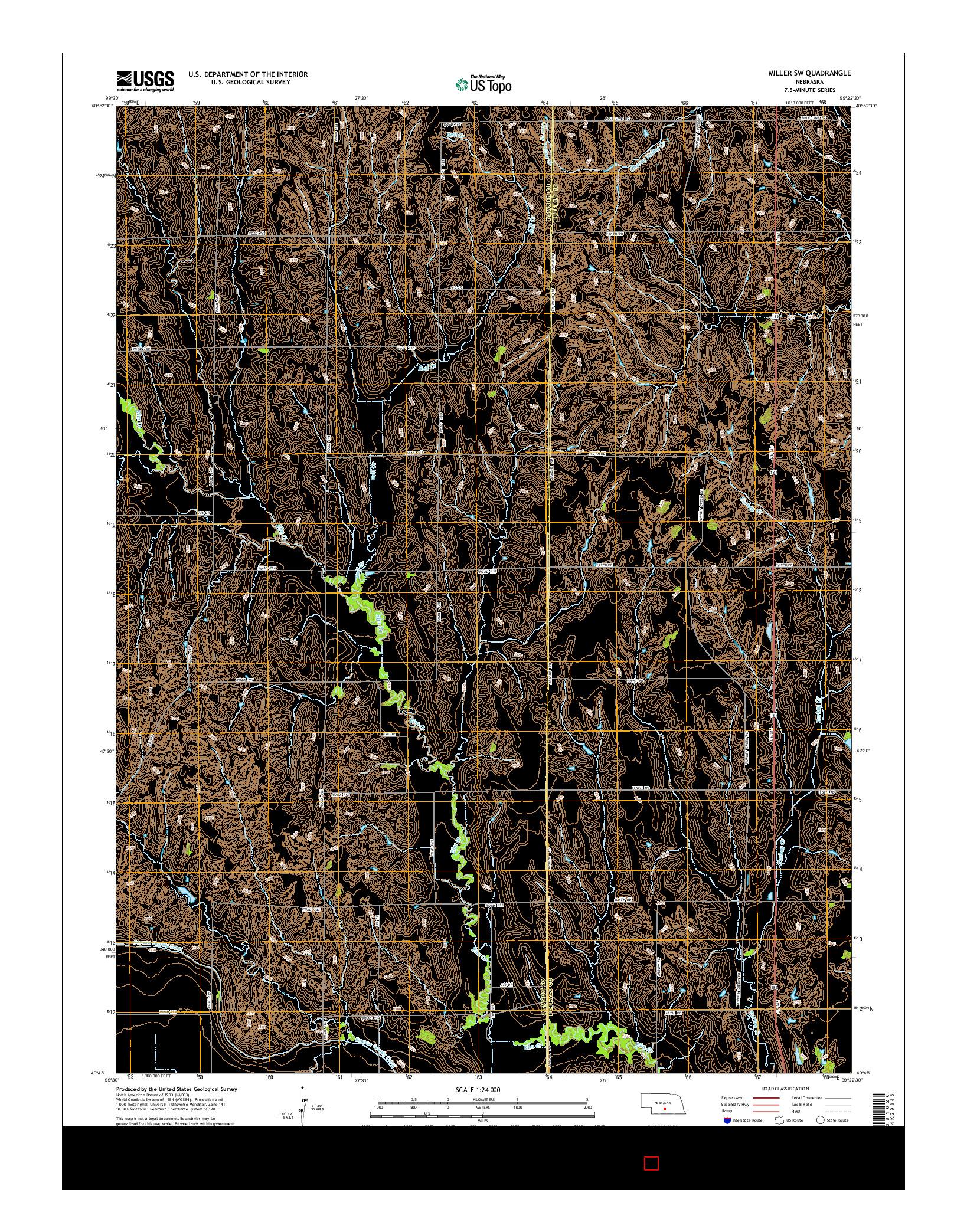 USGS US TOPO 7.5-MINUTE MAP FOR MILLER SW, NE 2014