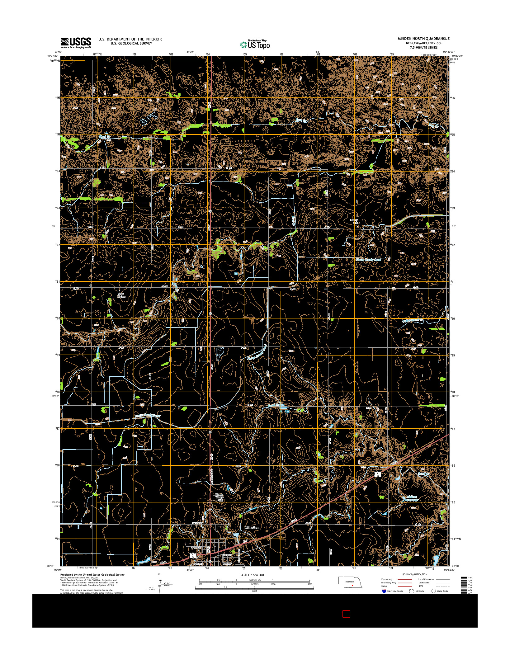 USGS US TOPO 7.5-MINUTE MAP FOR MINDEN NORTH, NE 2014