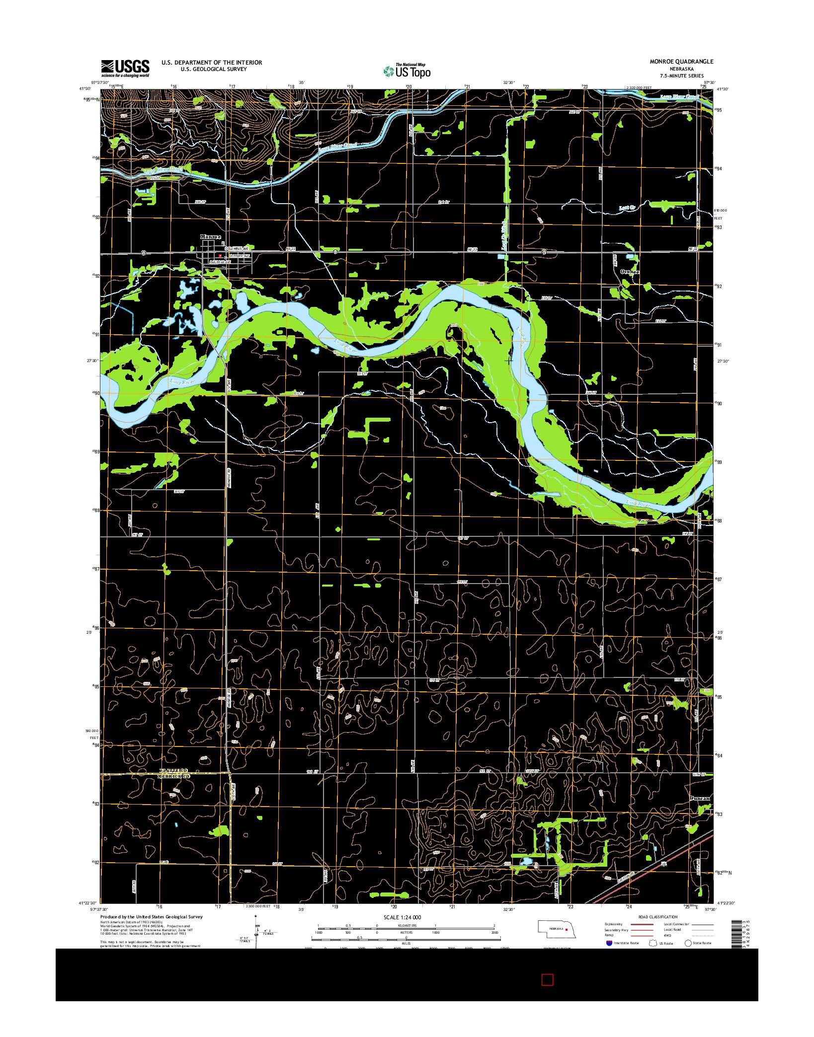 USGS US TOPO 7.5-MINUTE MAP FOR MONROE, NE 2014