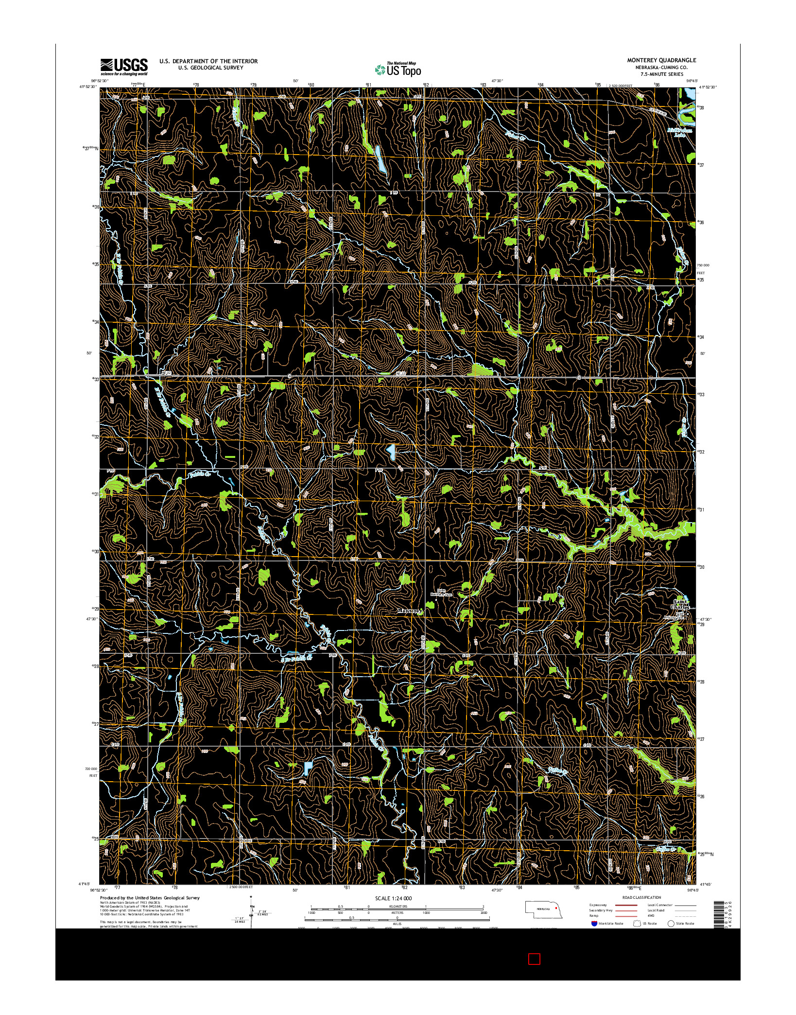 USGS US TOPO 7.5-MINUTE MAP FOR MONTEREY, NE 2014