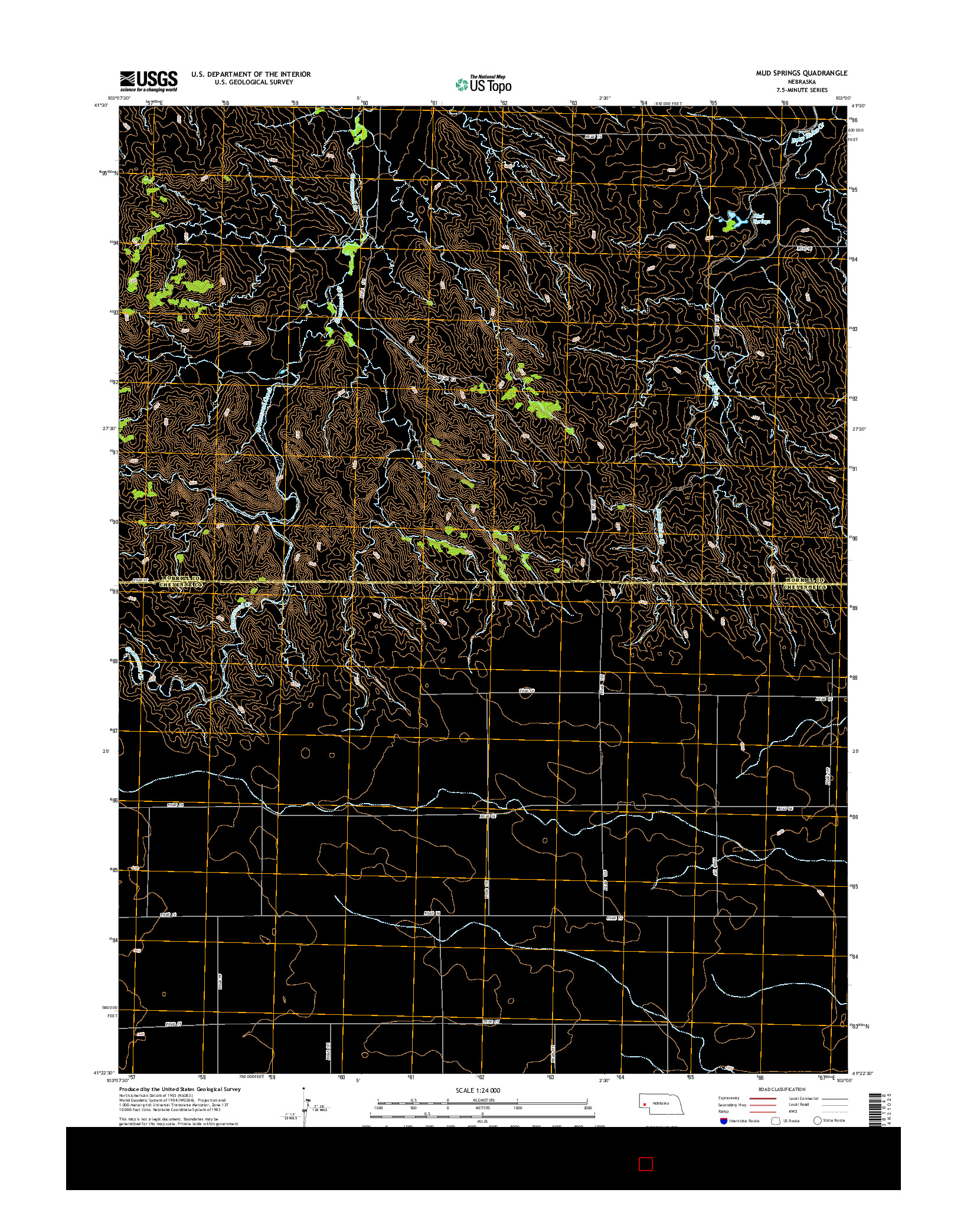 USGS US TOPO 7.5-MINUTE MAP FOR MUD SPRINGS, NE 2014