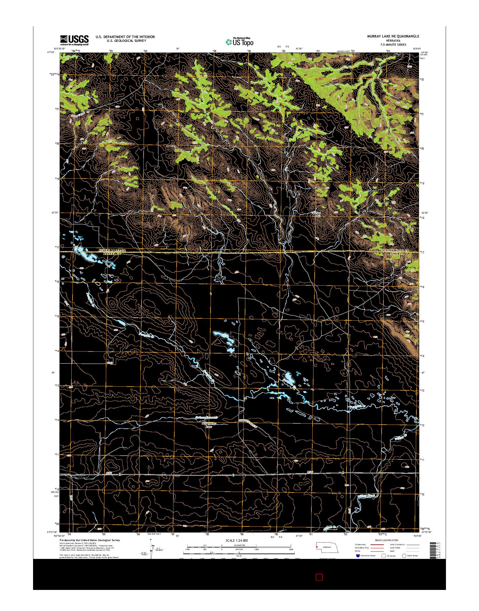 USGS US TOPO 7.5-MINUTE MAP FOR MURRAY LAKE NE, NE 2014