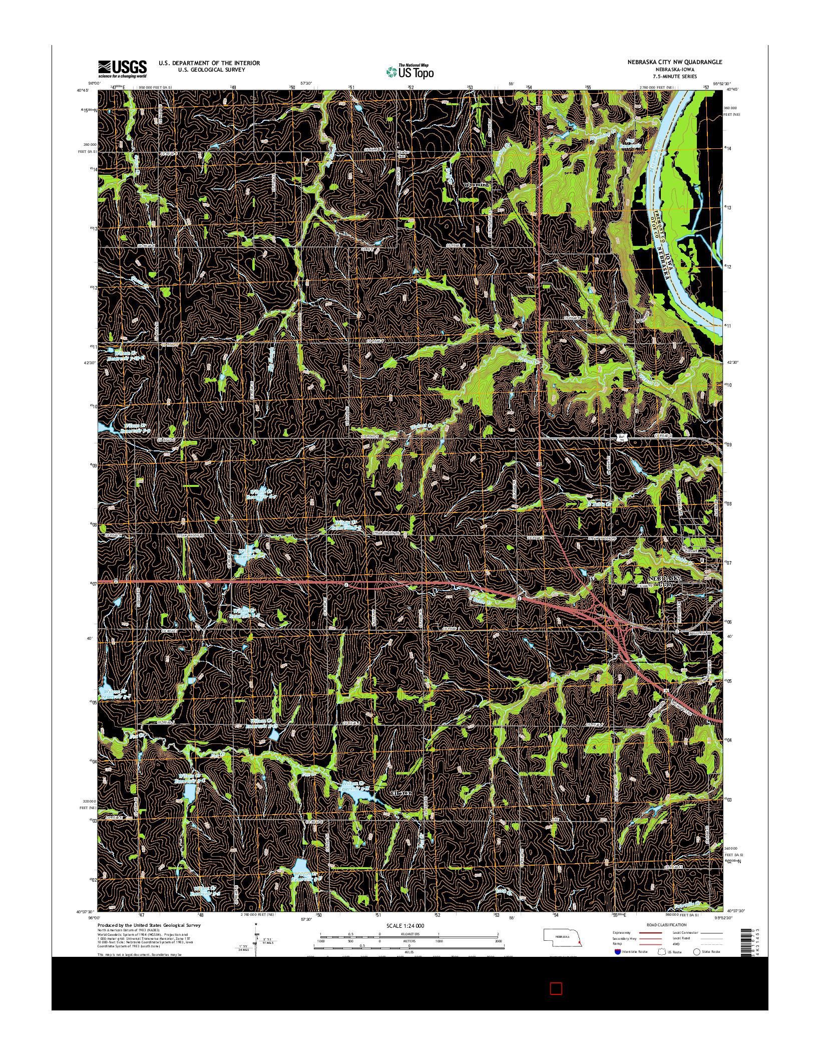 USGS US TOPO 7.5-MINUTE MAP FOR NEBRASKA CITY NW, NE-IA 2014