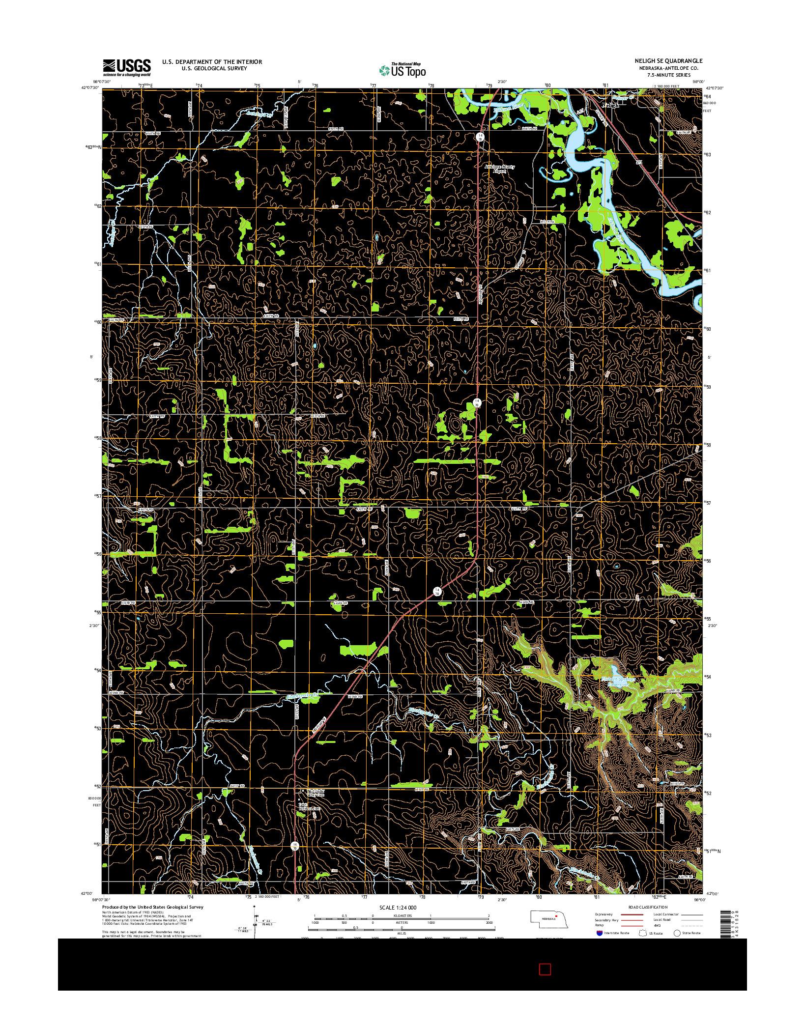 USGS US TOPO 7.5-MINUTE MAP FOR NELIGH SE, NE 2014