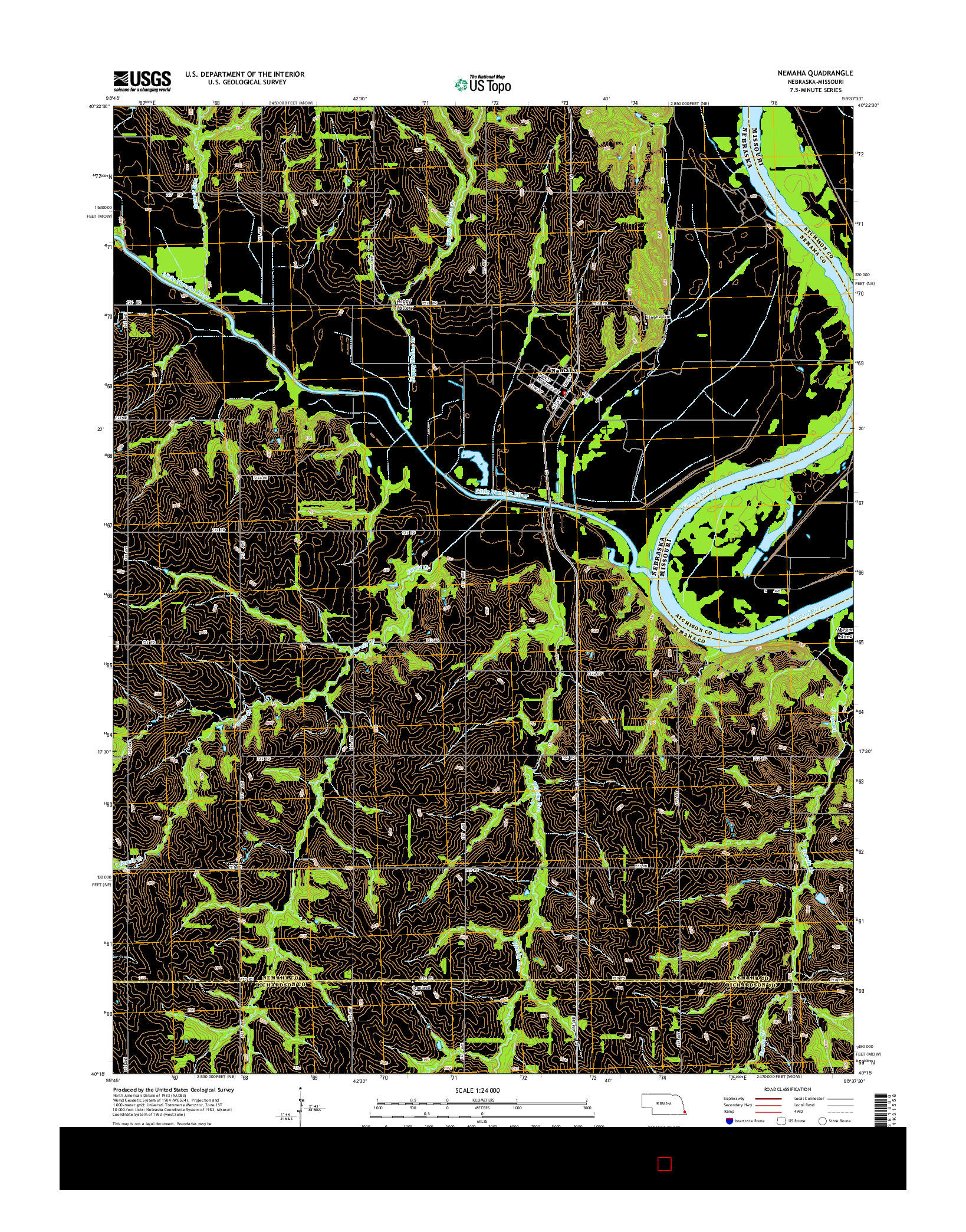 USGS US TOPO 7.5-MINUTE MAP FOR NEMAHA, NE-MO 2014