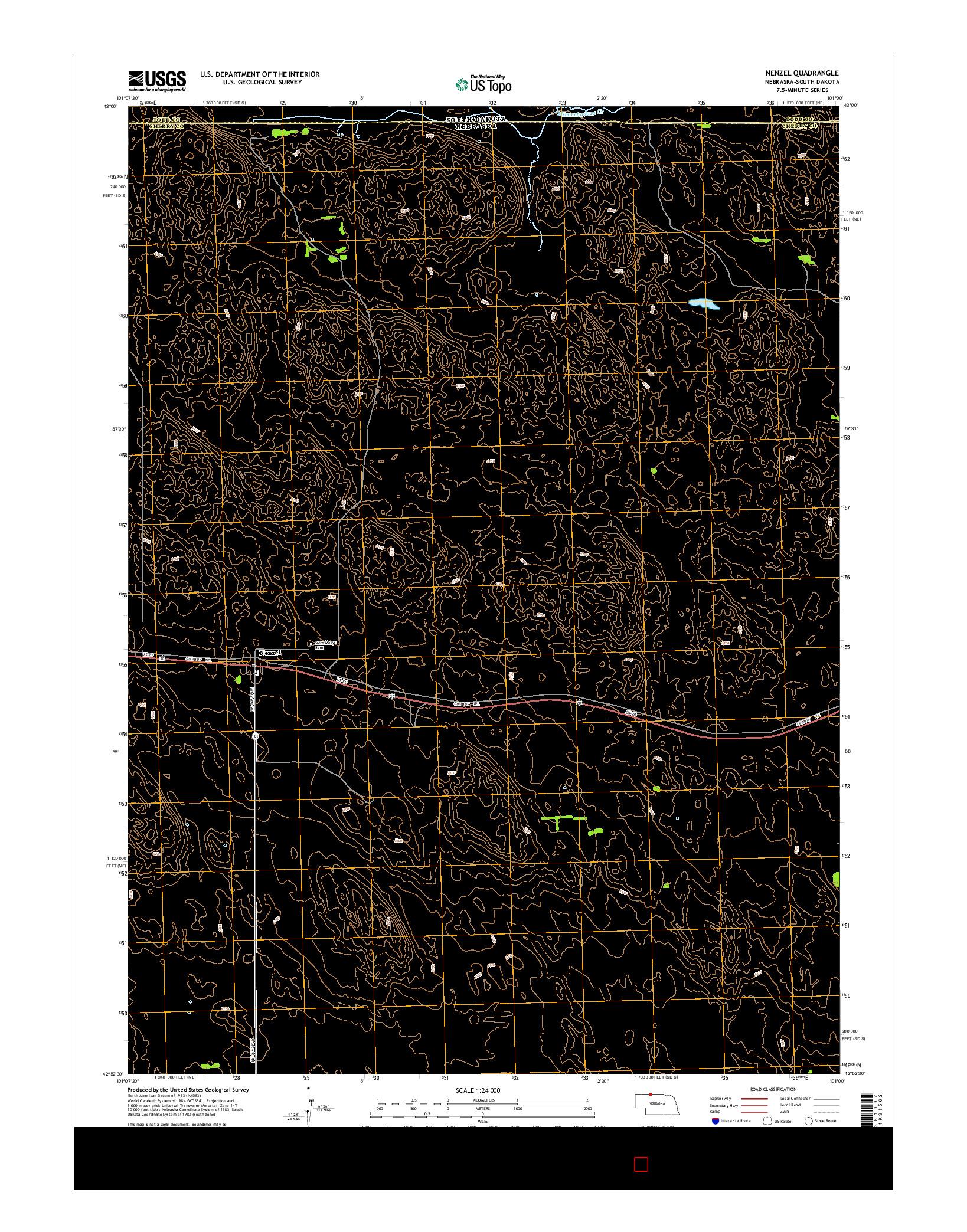 USGS US TOPO 7.5-MINUTE MAP FOR NENZEL, NE-SD 2014