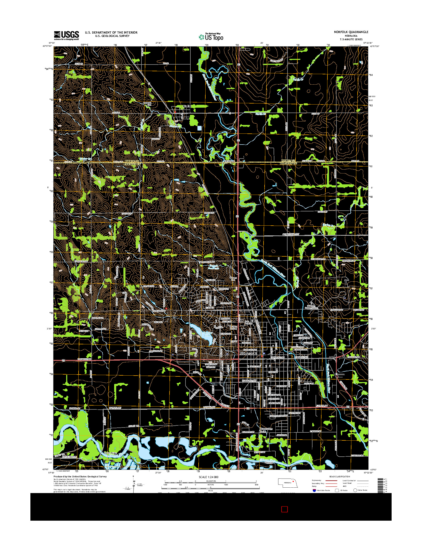 USGS US TOPO 7.5-MINUTE MAP FOR NORFOLK, NE 2014