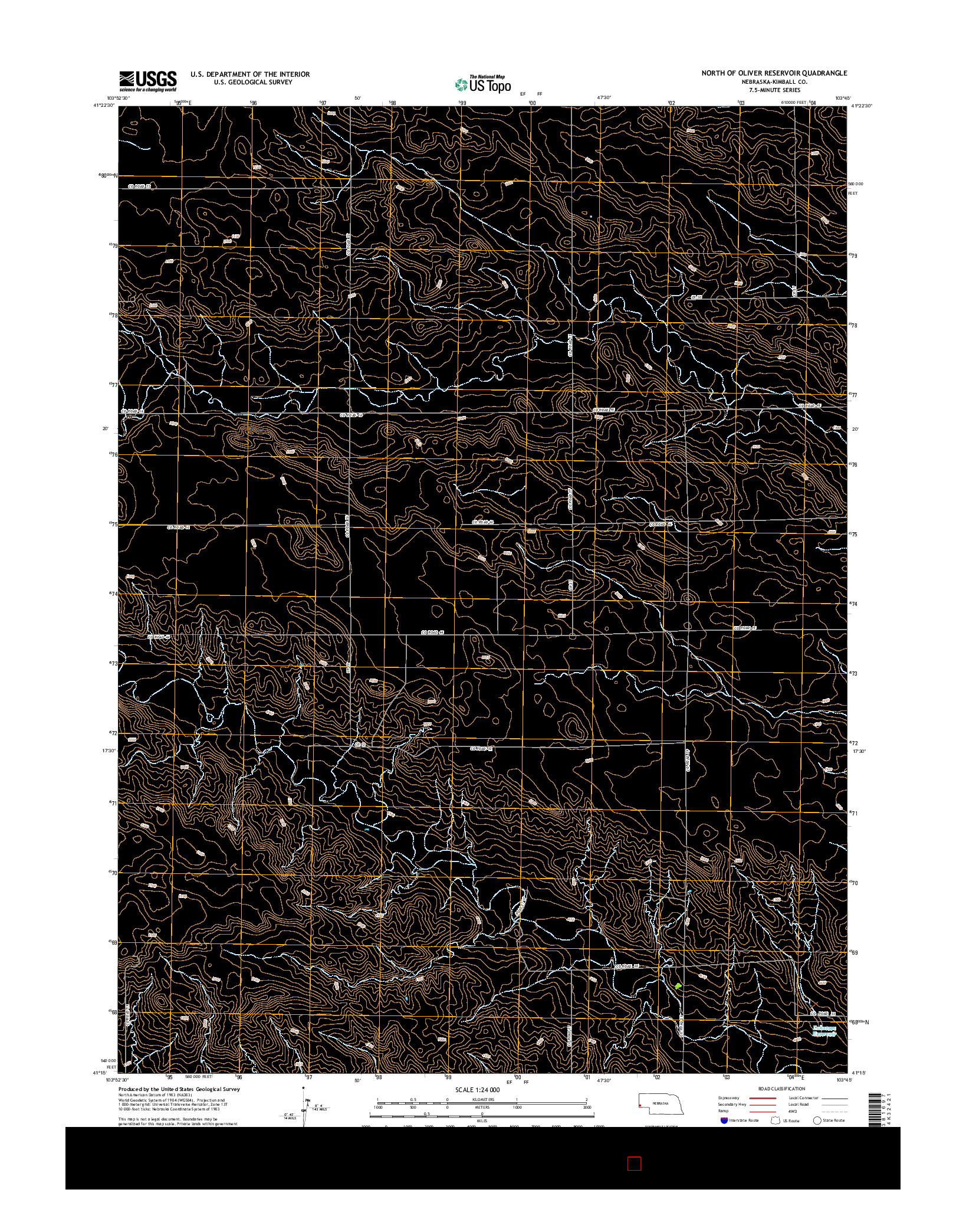 USGS US TOPO 7.5-MINUTE MAP FOR NORTH OF OLIVER RESERVOIR, NE 2014