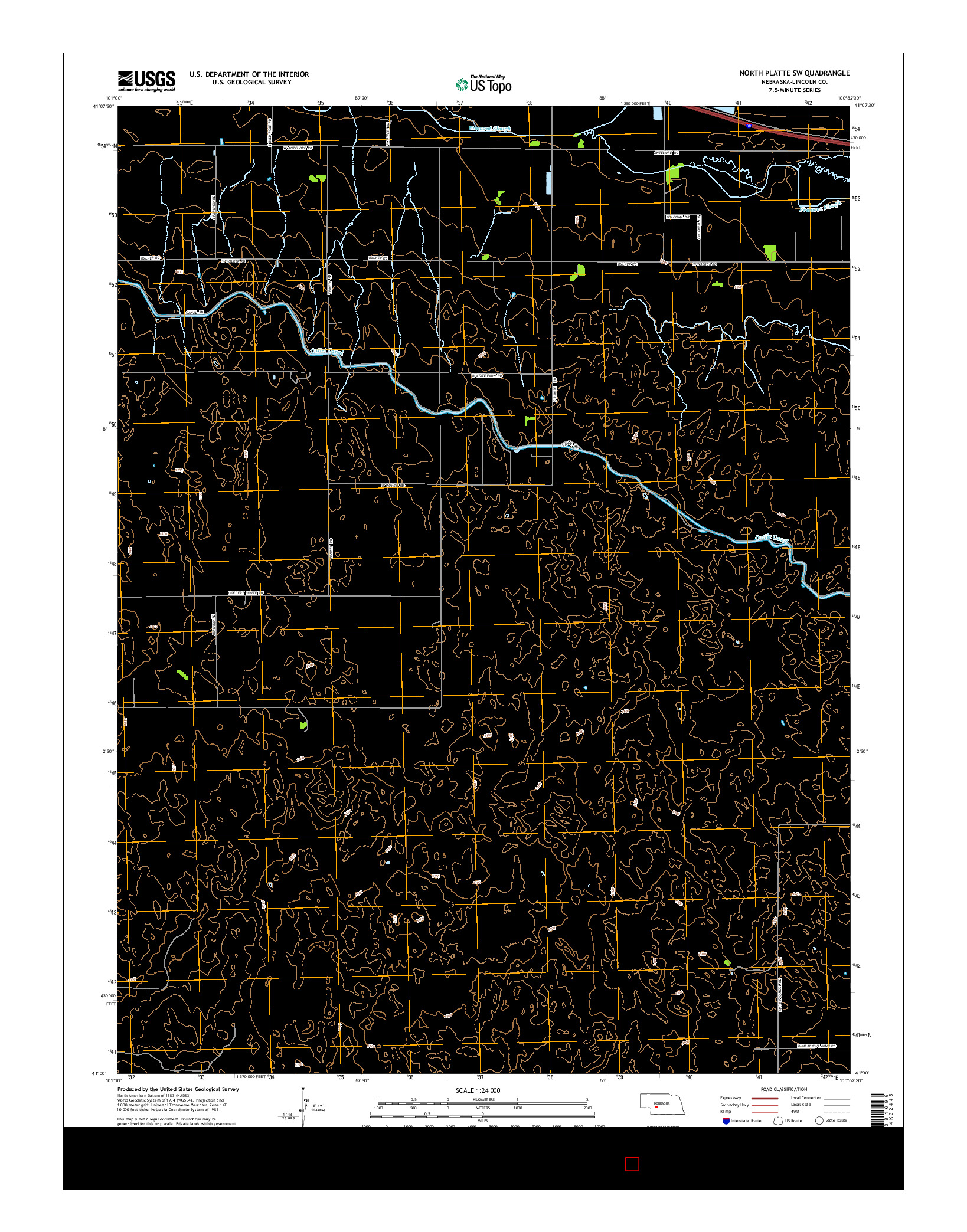 USGS US TOPO 7.5-MINUTE MAP FOR NORTH PLATTE SW, NE 2014