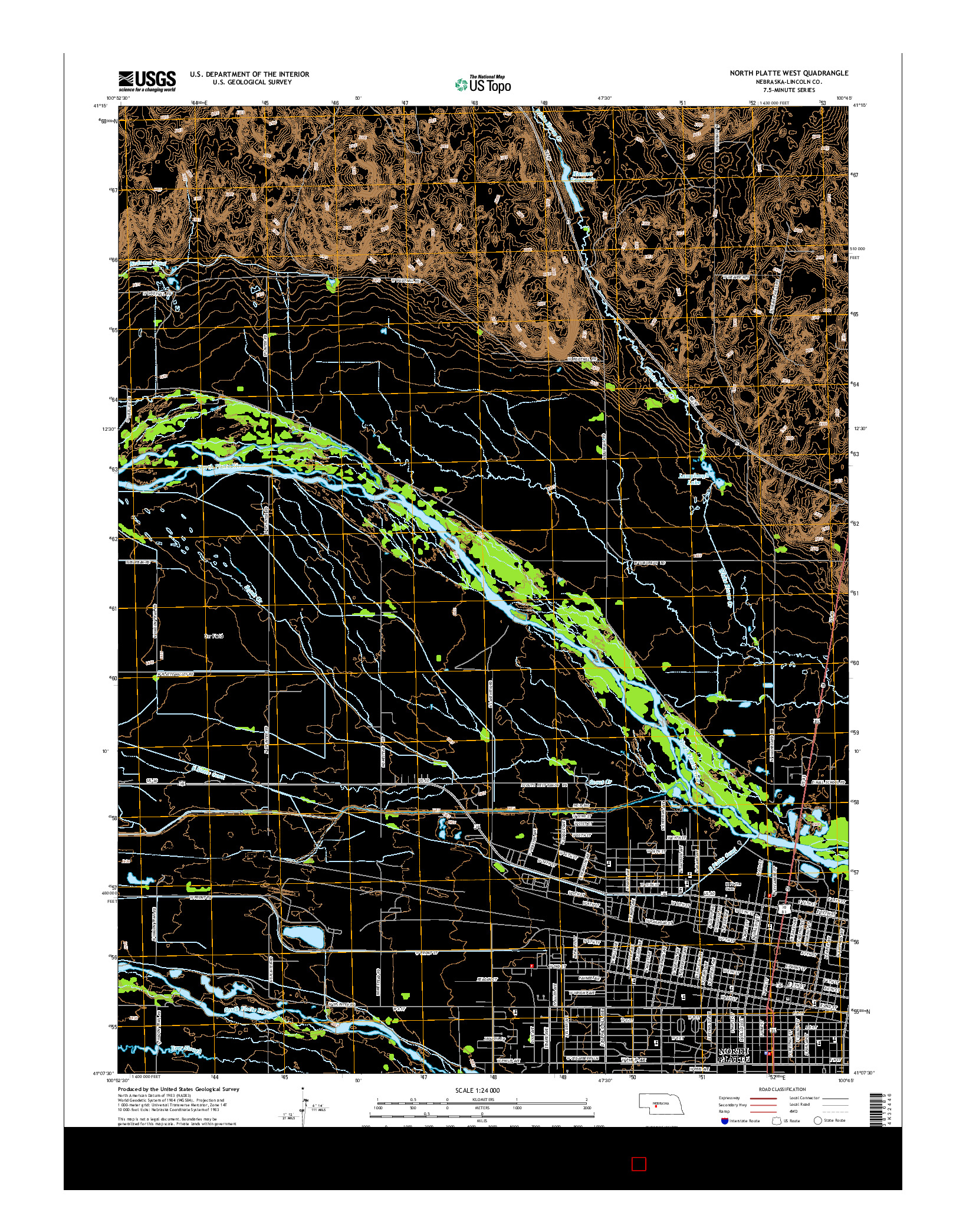 USGS US TOPO 7.5-MINUTE MAP FOR NORTH PLATTE WEST, NE 2014
