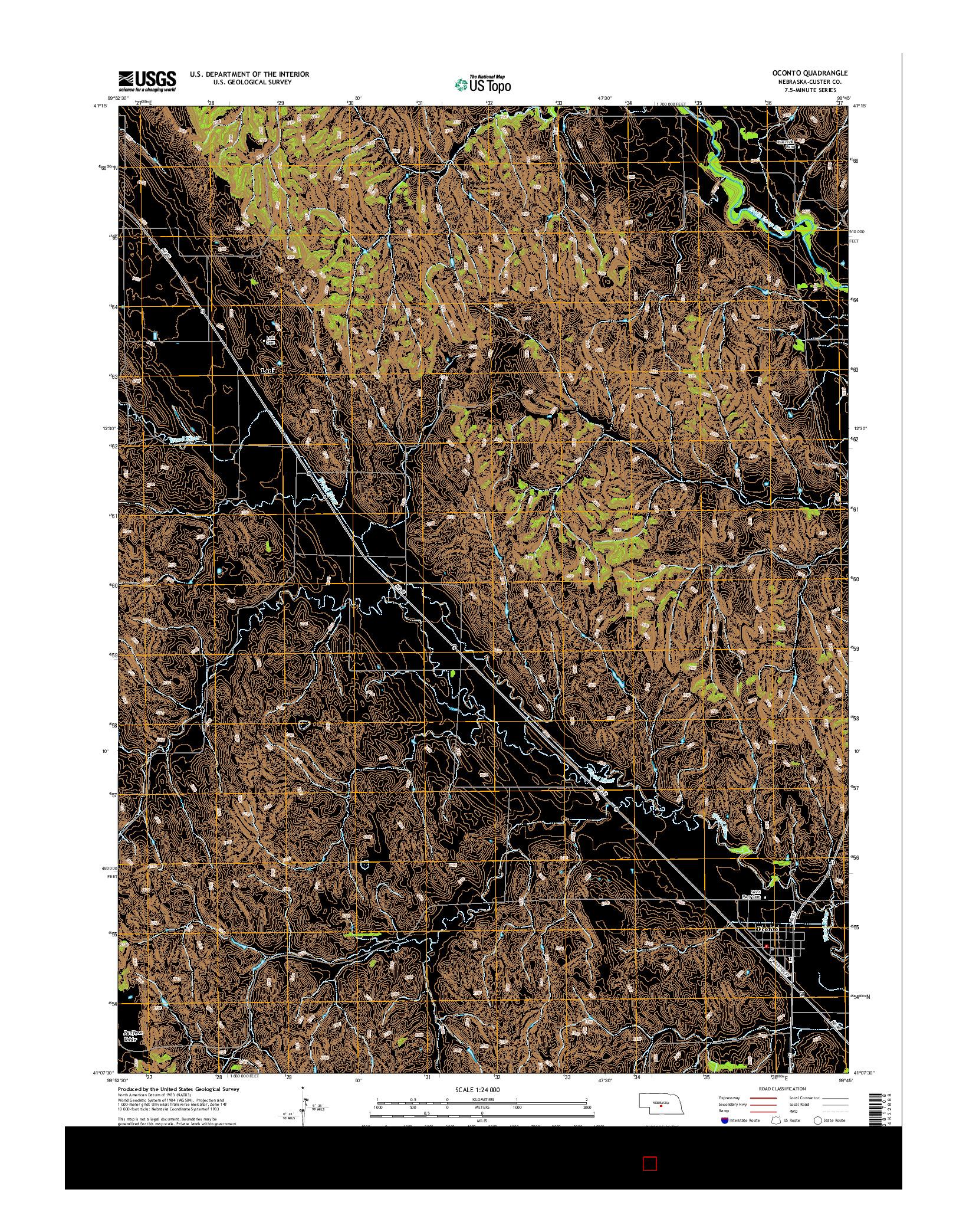 USGS US TOPO 7.5-MINUTE MAP FOR OCONTO, NE 2014