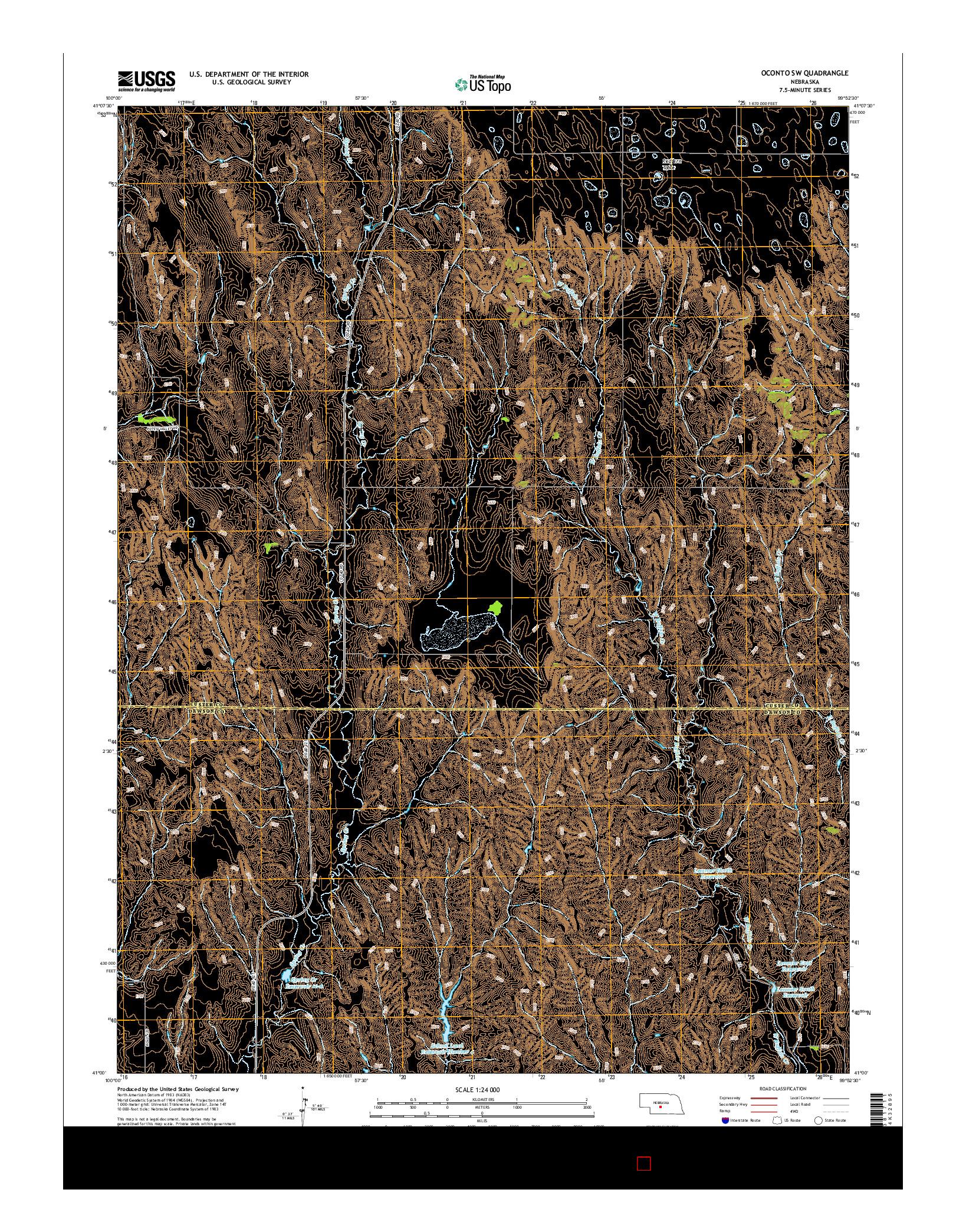 USGS US TOPO 7.5-MINUTE MAP FOR OCONTO SW, NE 2014