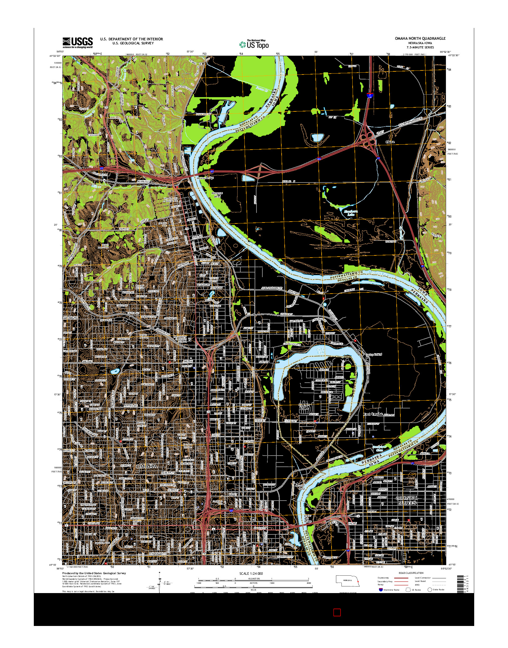 USGS US TOPO 7.5-MINUTE MAP FOR OMAHA NORTH, NE-IA 2014