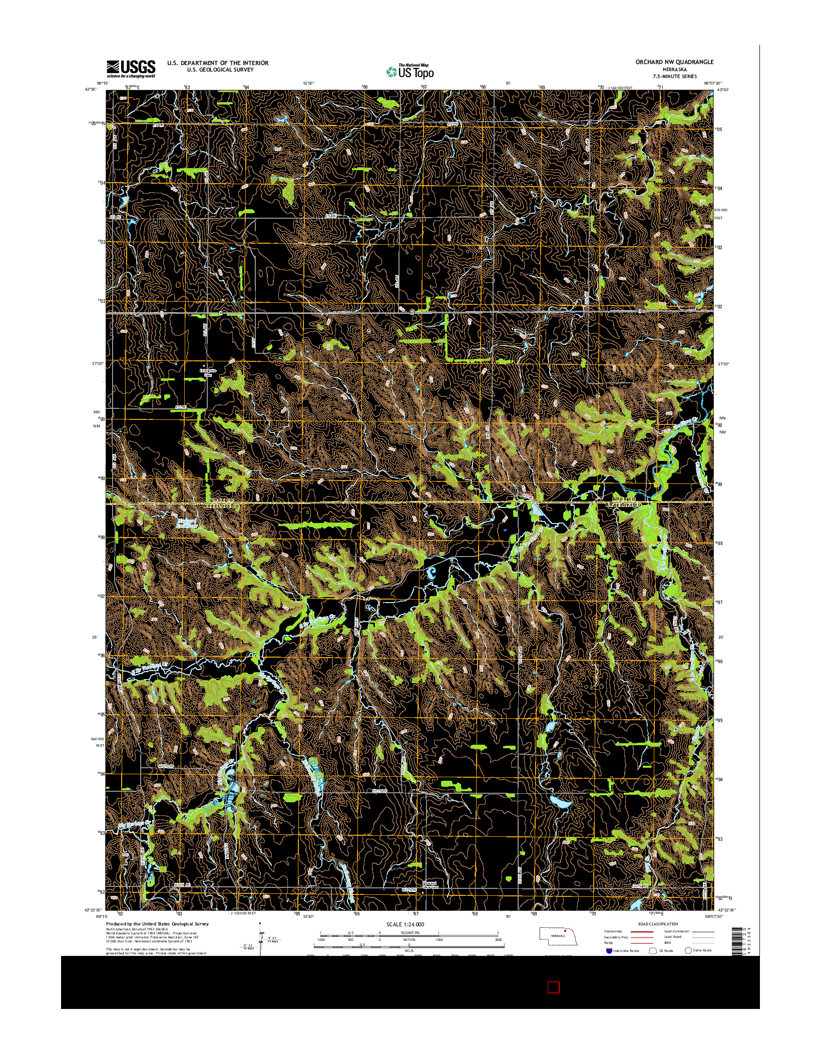 USGS US TOPO 7.5-MINUTE MAP FOR ORCHARD NW, NE 2014