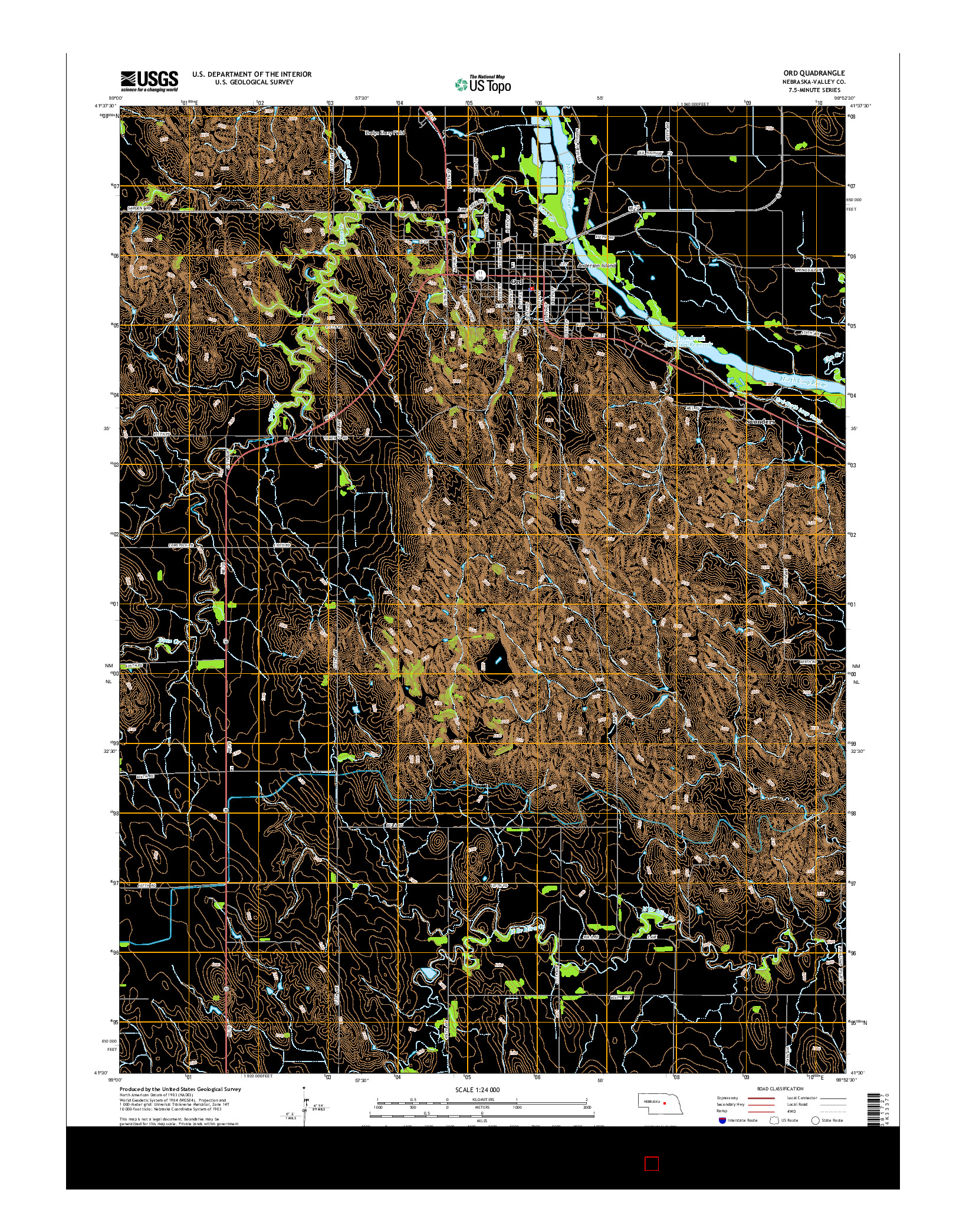 USGS US TOPO 7.5-MINUTE MAP FOR ORD, NE 2014