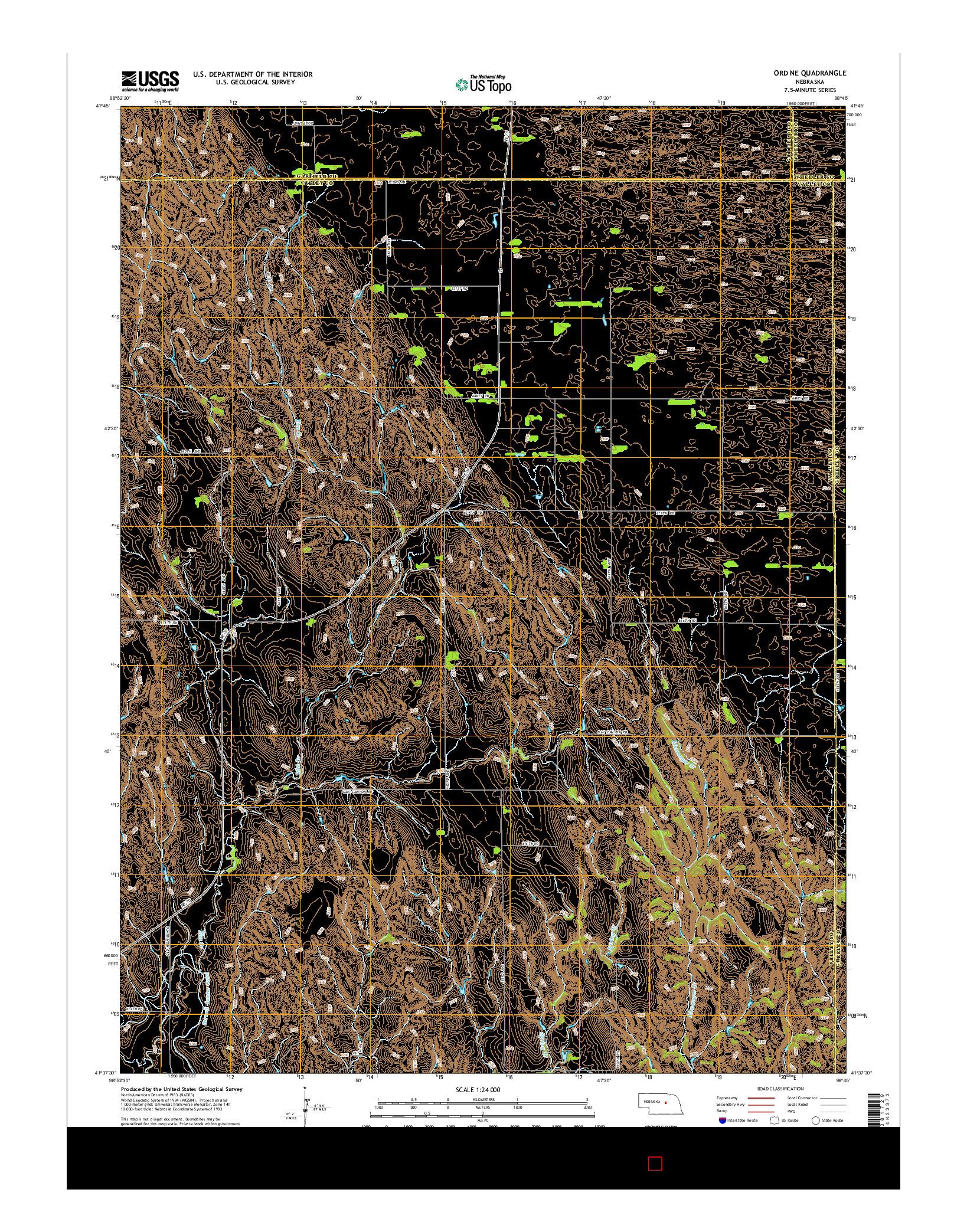 USGS US TOPO 7.5-MINUTE MAP FOR ORD NE, NE 2014