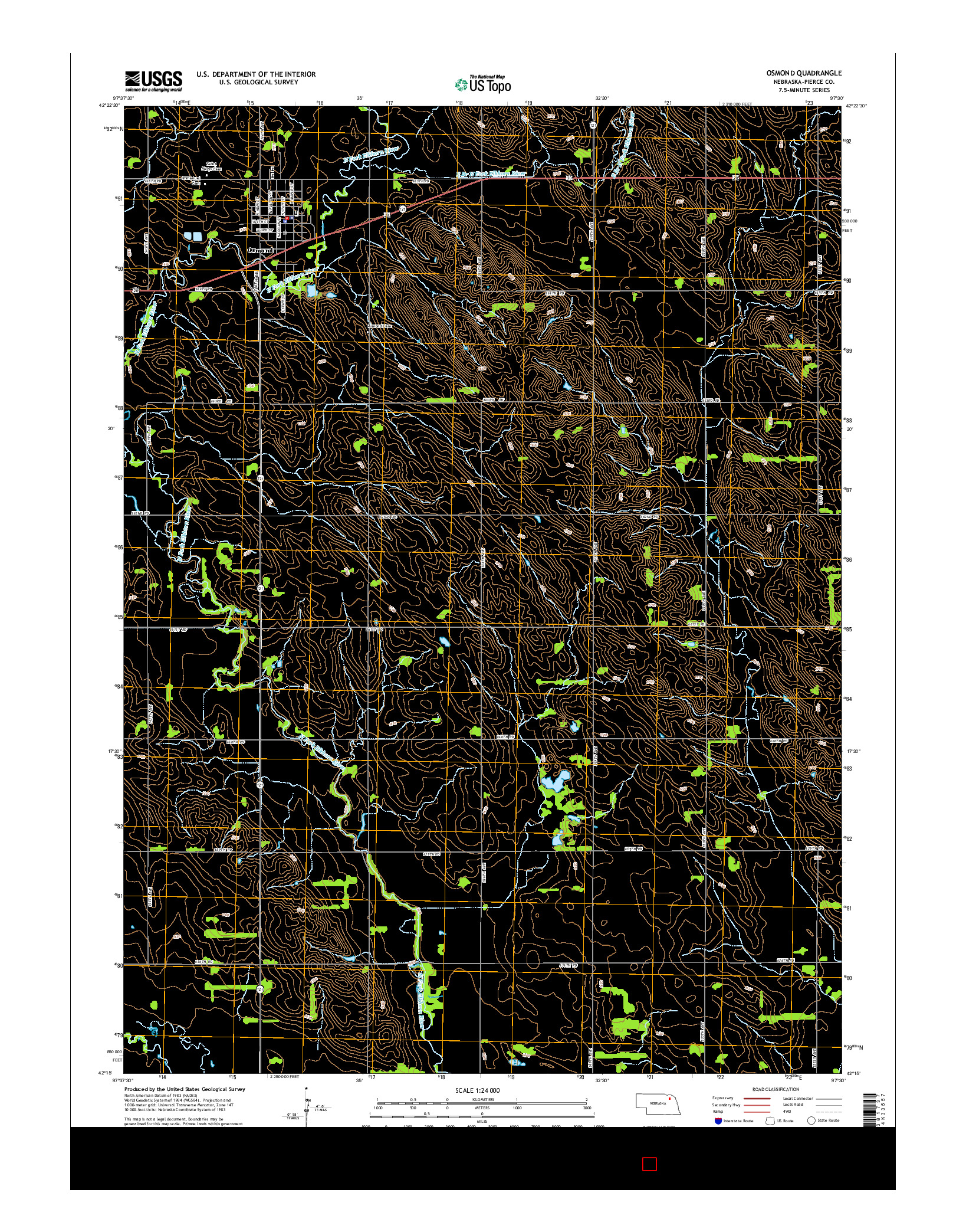 USGS US TOPO 7.5-MINUTE MAP FOR OSMOND, NE 2014