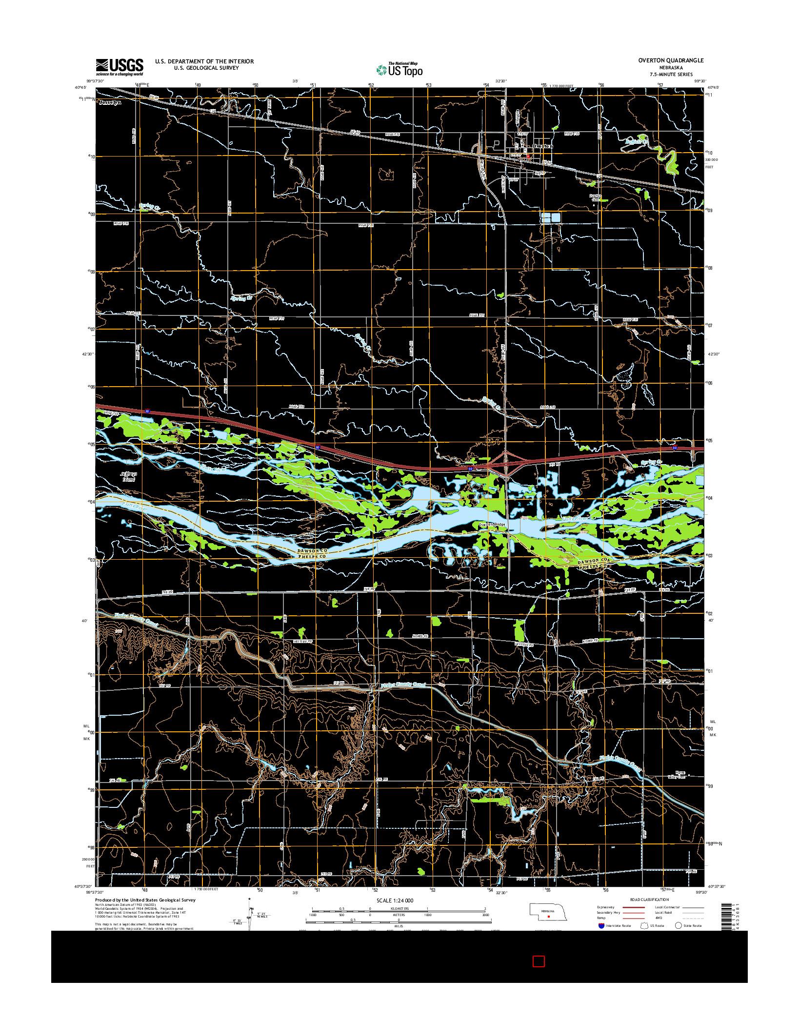 USGS US TOPO 7.5-MINUTE MAP FOR OVERTON, NE 2014