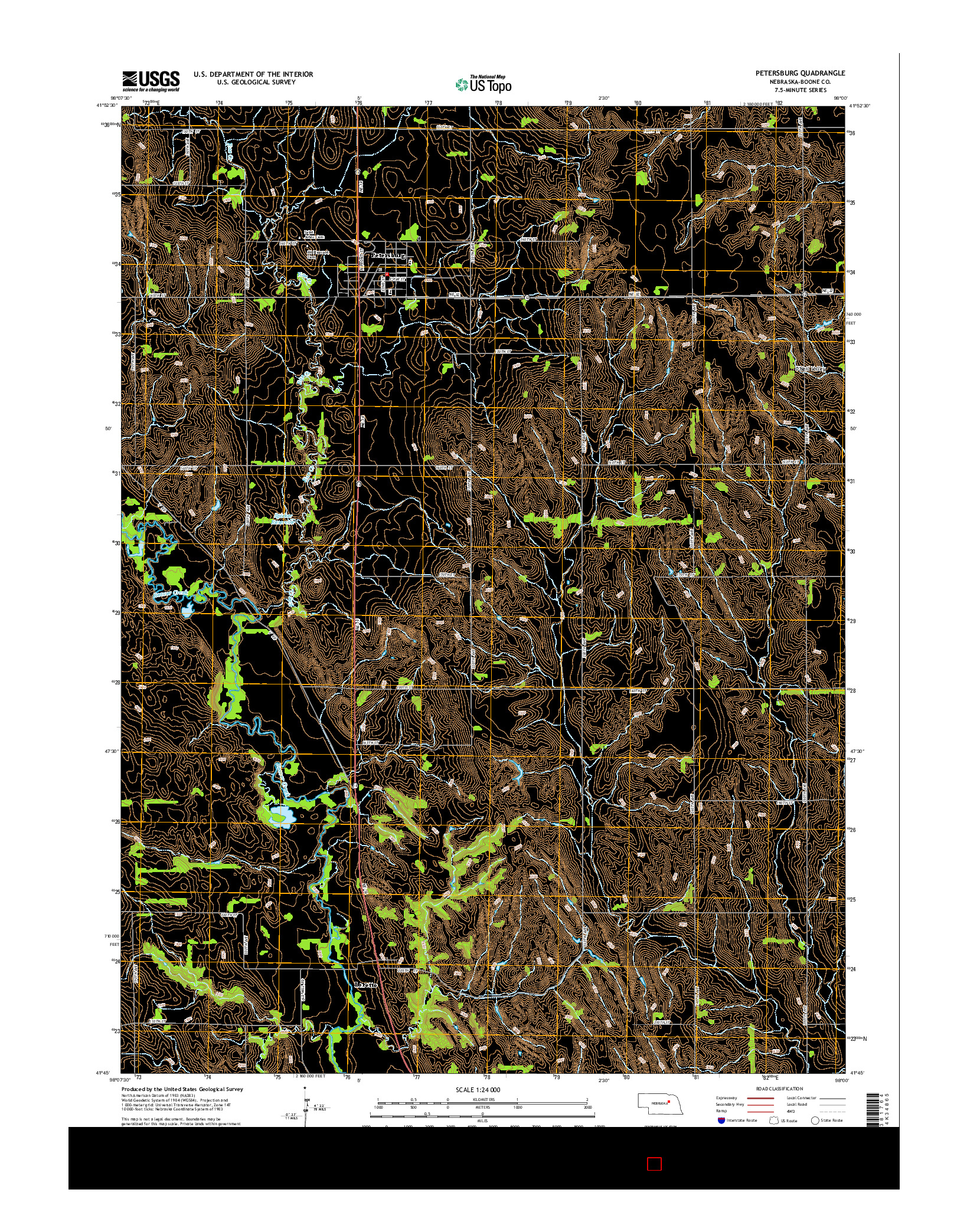 USGS US TOPO 7.5-MINUTE MAP FOR PETERSBURG, NE 2014