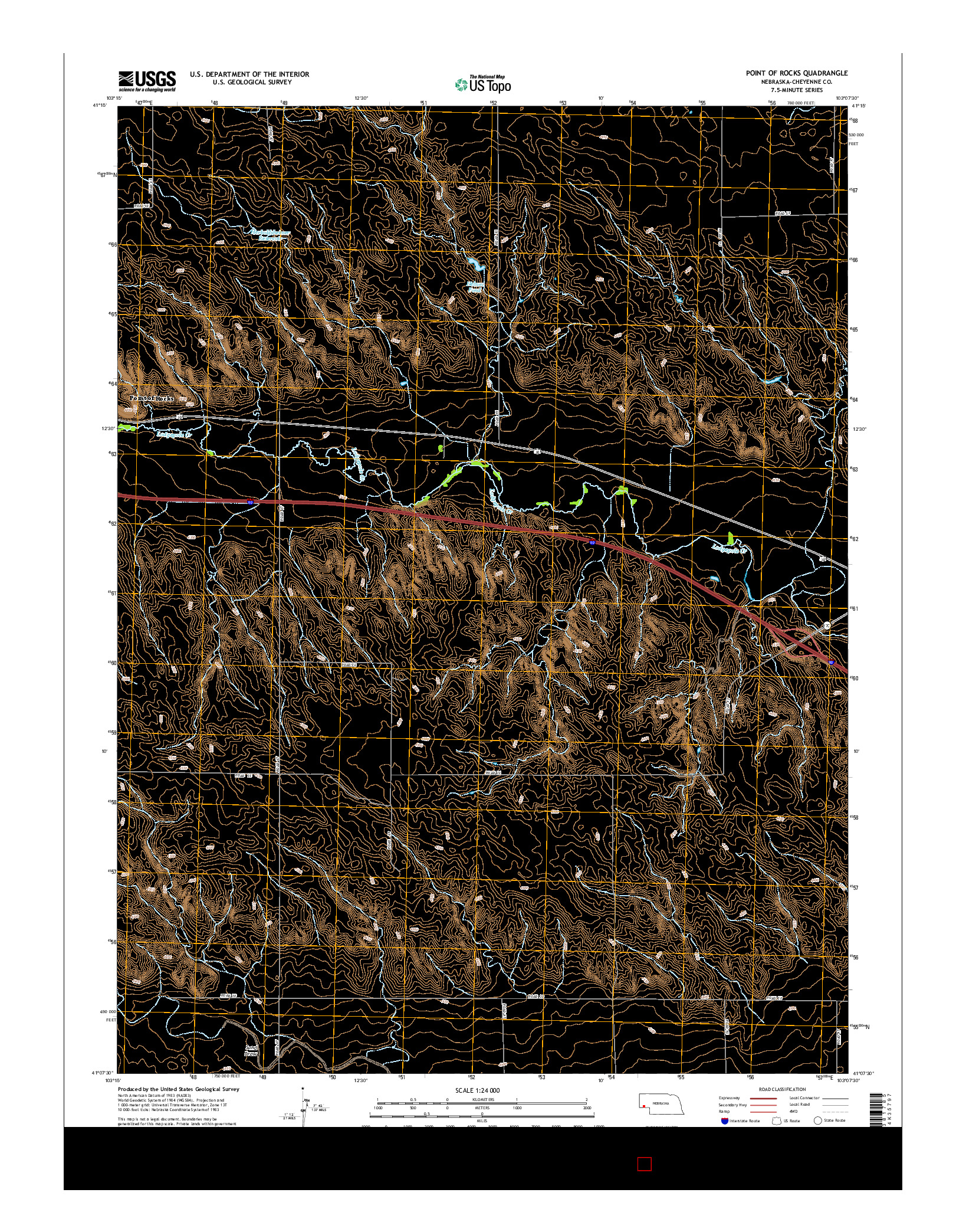 USGS US TOPO 7.5-MINUTE MAP FOR POINT OF ROCKS, NE 2014