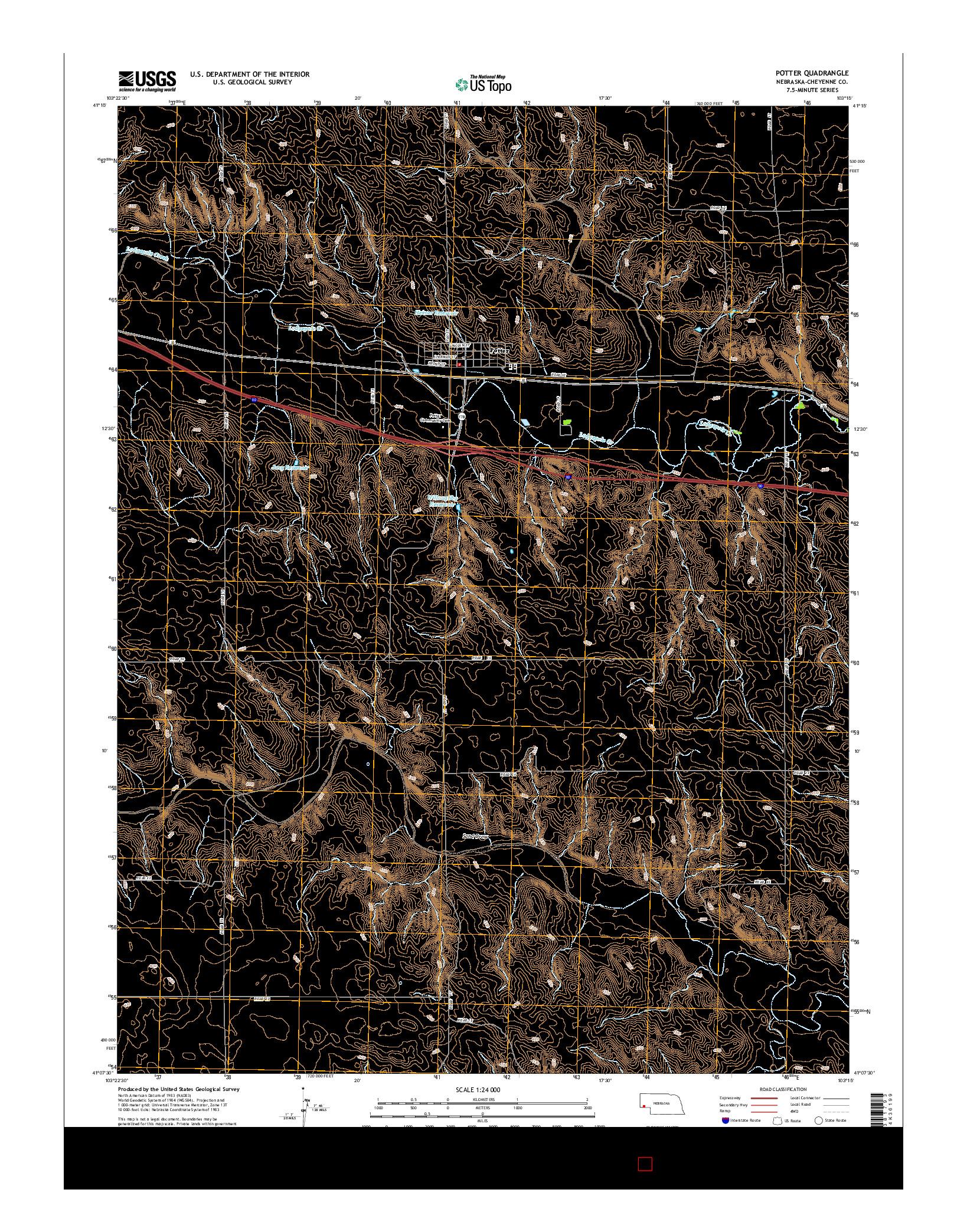 USGS US TOPO 7.5-MINUTE MAP FOR POTTER, NE 2014