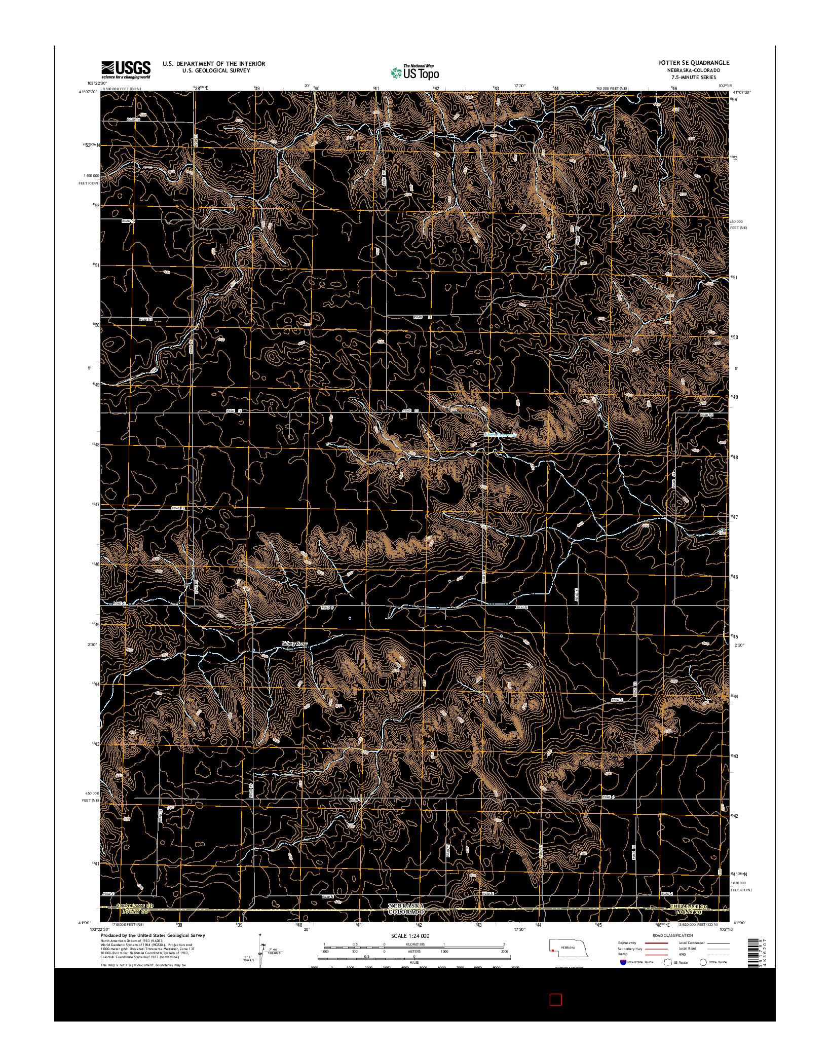 USGS US TOPO 7.5-MINUTE MAP FOR POTTER SE, NE-CO 2014