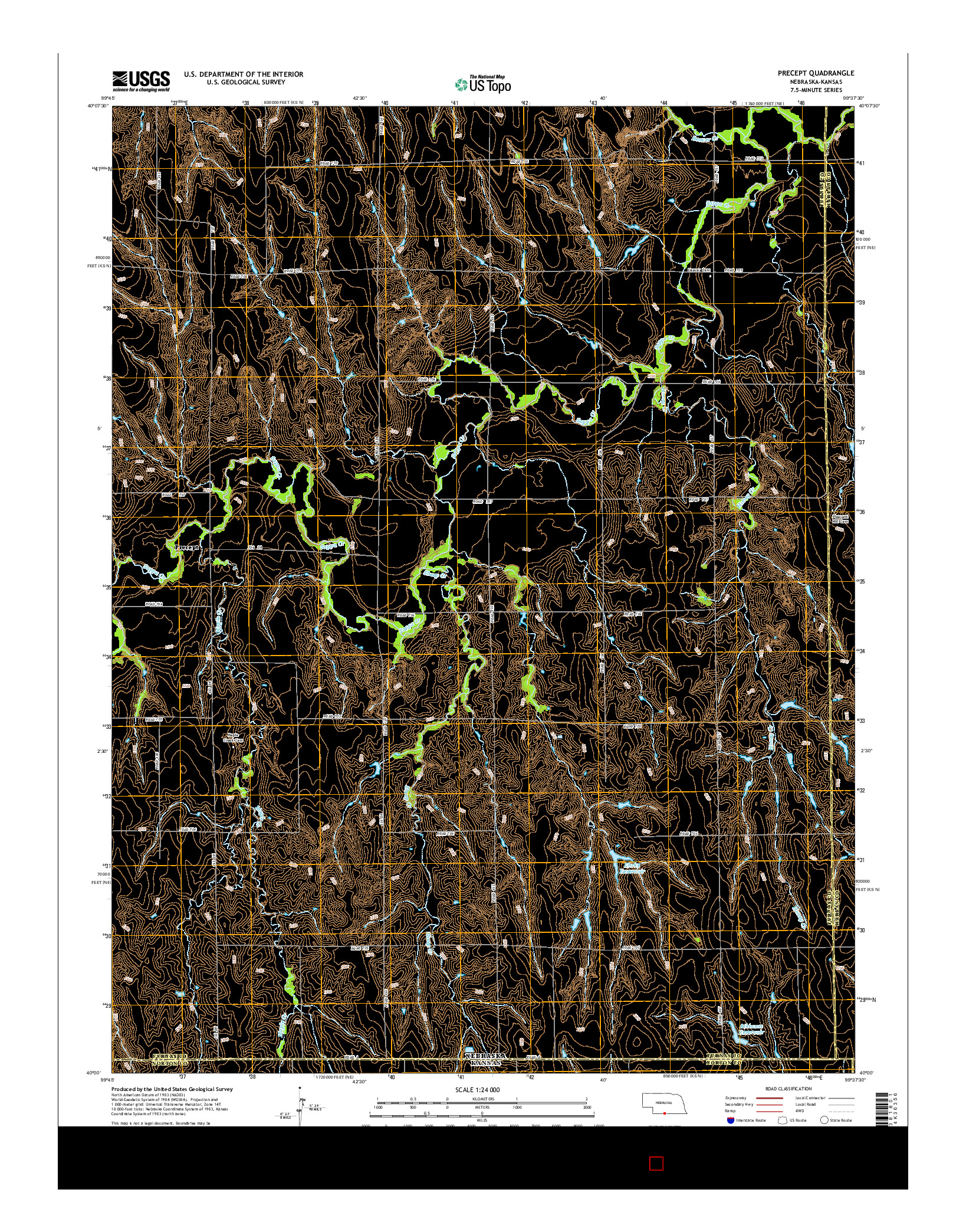 USGS US TOPO 7.5-MINUTE MAP FOR PRECEPT, NE-KS 2014
