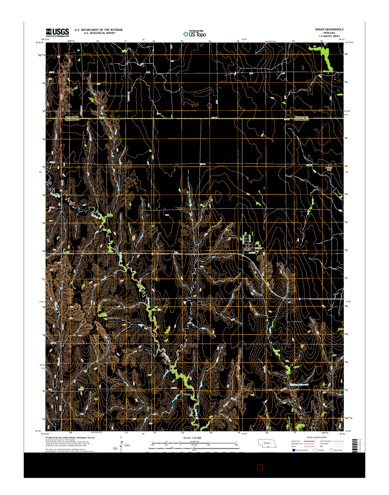 USGS US TOPO 7.5-MINUTE MAP FOR RAGAN, NE 2014