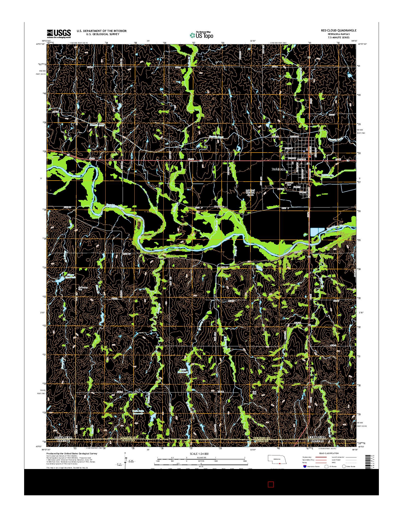 USGS US TOPO 7.5-MINUTE MAP FOR RED CLOUD, NE-KS 2014