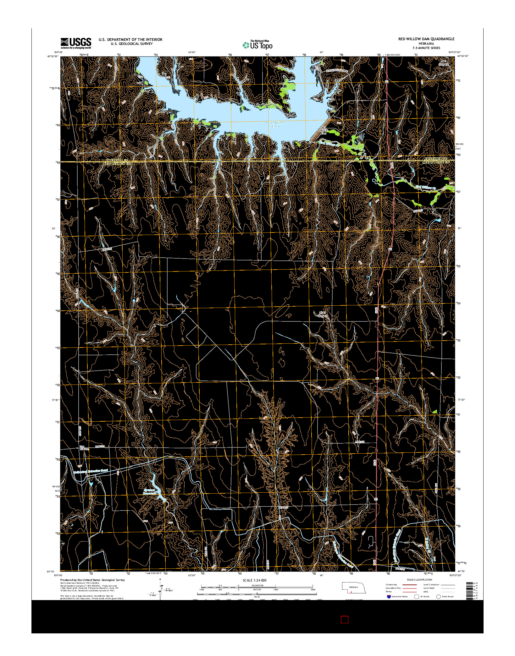 USGS US TOPO 7.5-MINUTE MAP FOR RED WILLOW DAM, NE 2014
