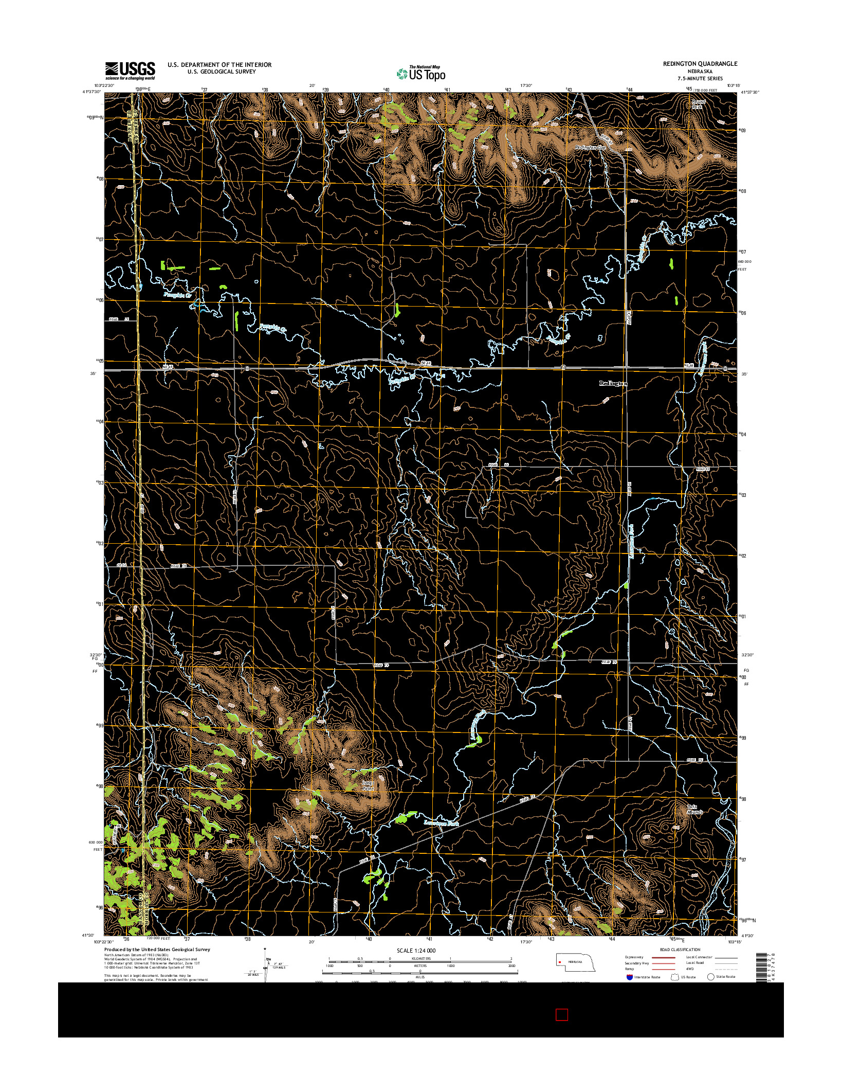 USGS US TOPO 7.5-MINUTE MAP FOR REDINGTON, NE 2014