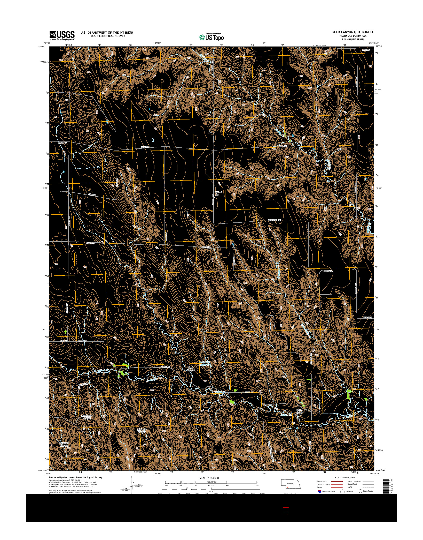 USGS US TOPO 7.5-MINUTE MAP FOR ROCK CANYON, NE 2014