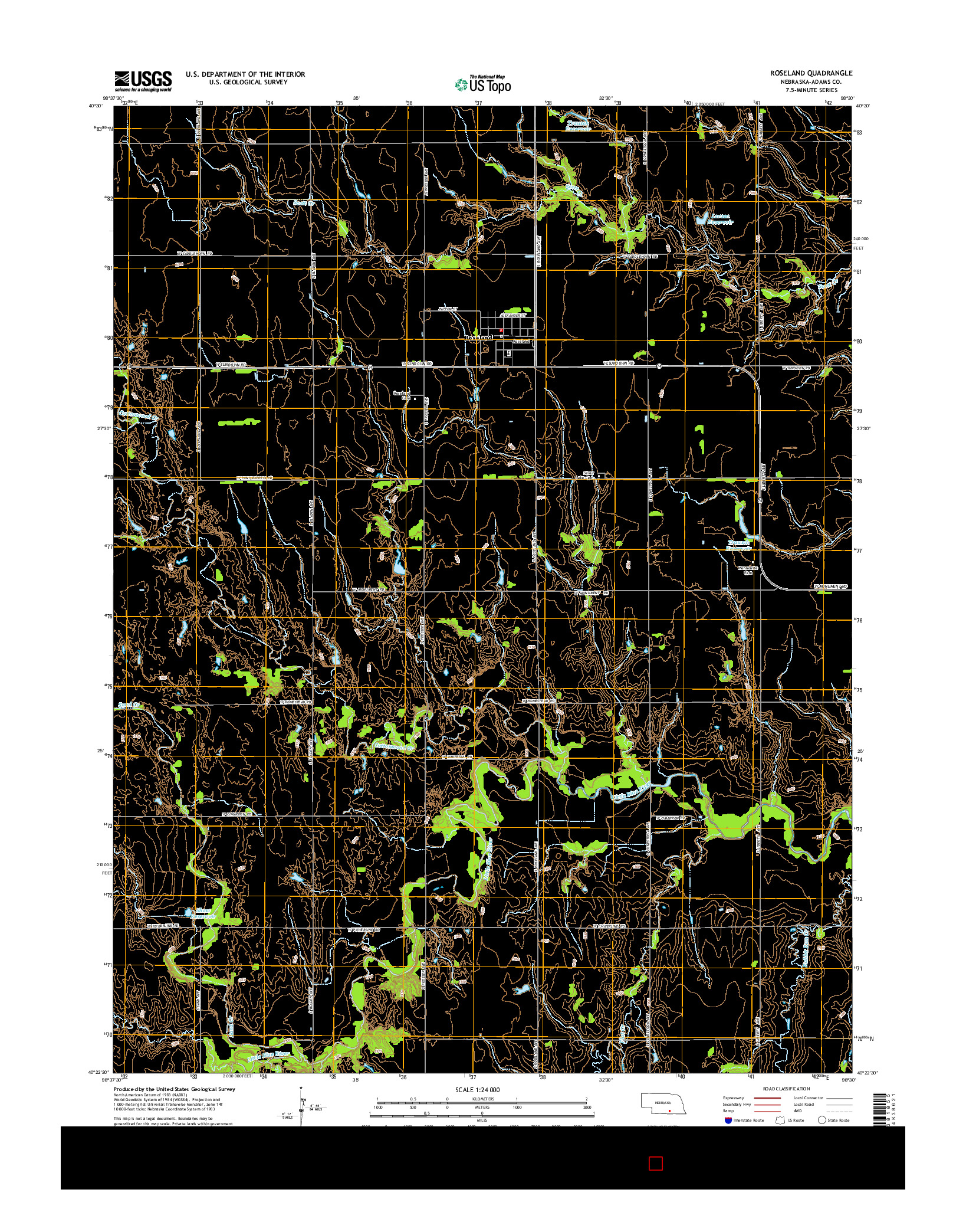 USGS US TOPO 7.5-MINUTE MAP FOR ROSELAND, NE 2014