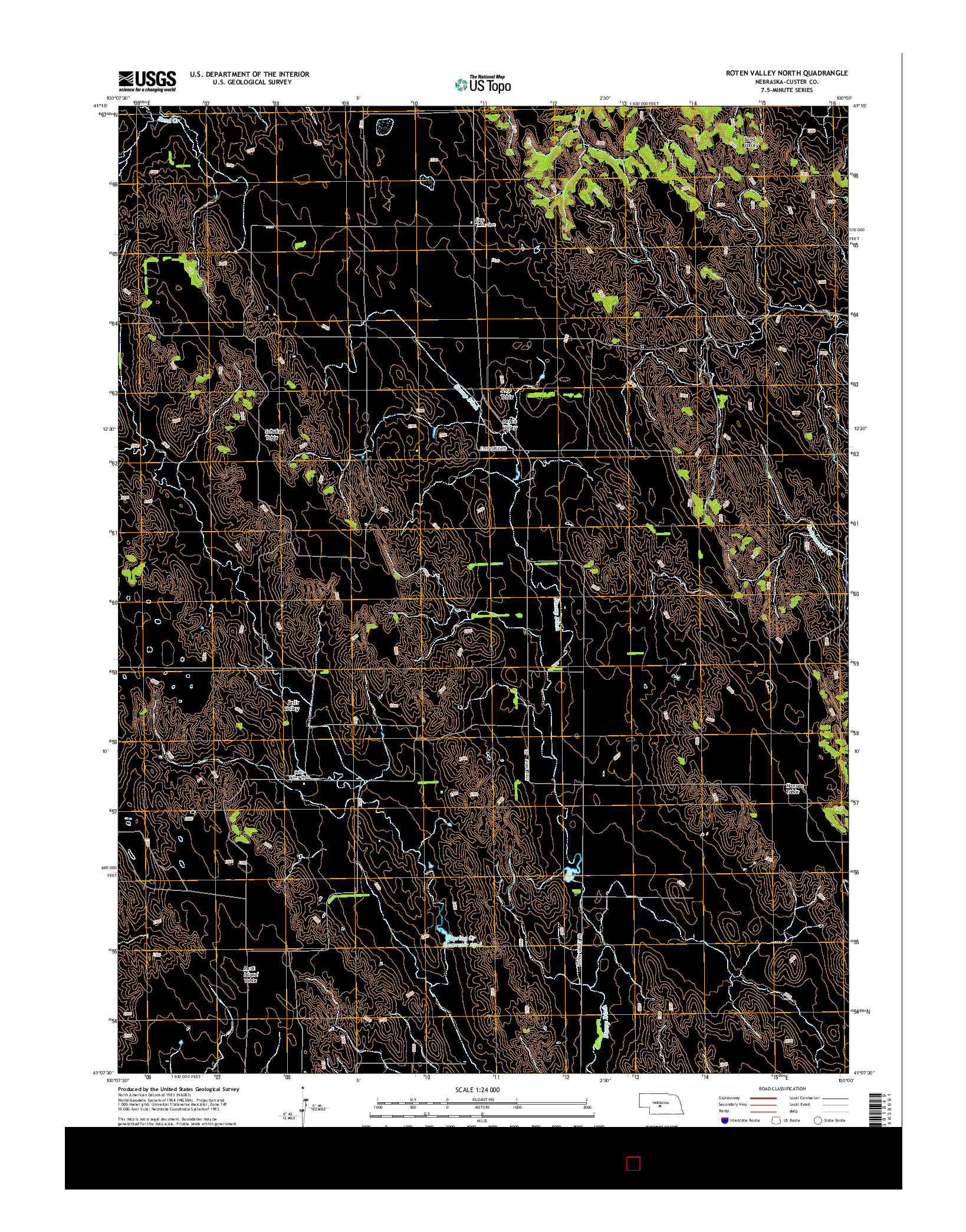 USGS US TOPO 7.5-MINUTE MAP FOR ROTEN VALLEY NORTH, NE 2014