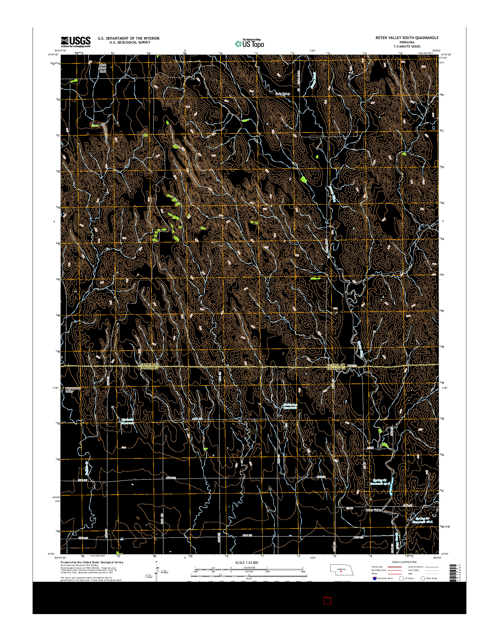 USGS US TOPO 7.5-MINUTE MAP FOR ROTEN VALLEY SOUTH, NE 2014