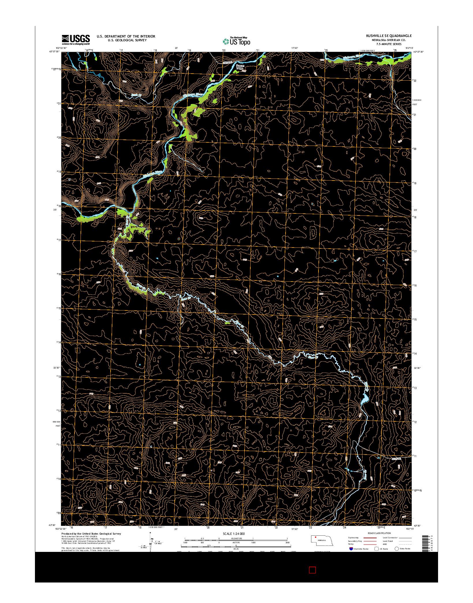 USGS US TOPO 7.5-MINUTE MAP FOR RUSHVILLE SE, NE 2014