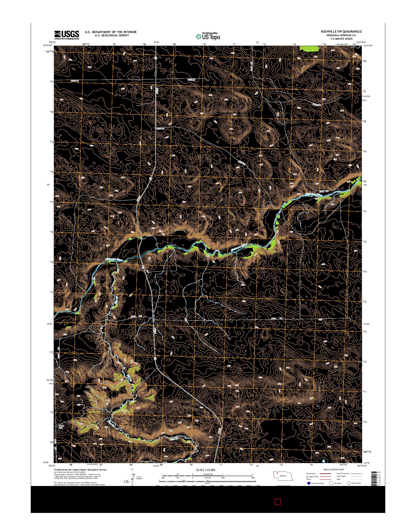 USGS US TOPO 7.5-MINUTE MAP FOR RUSHVILLE SW, NE 2014