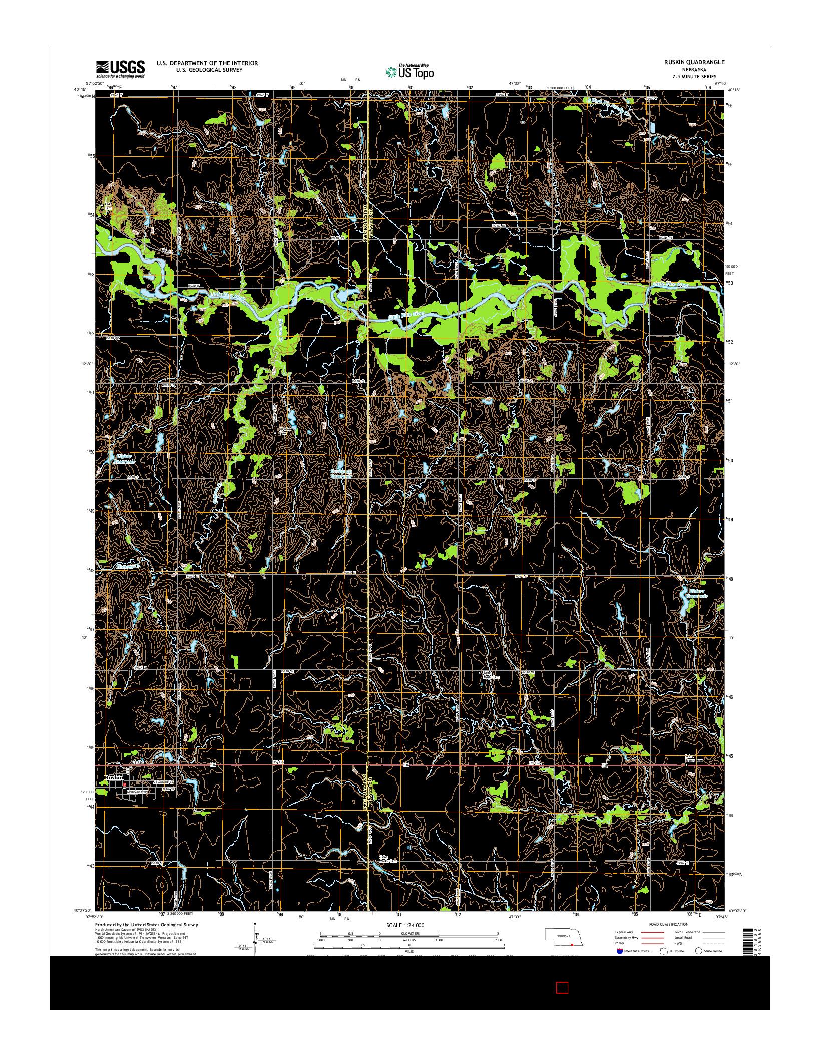 USGS US TOPO 7.5-MINUTE MAP FOR RUSKIN, NE 2014
