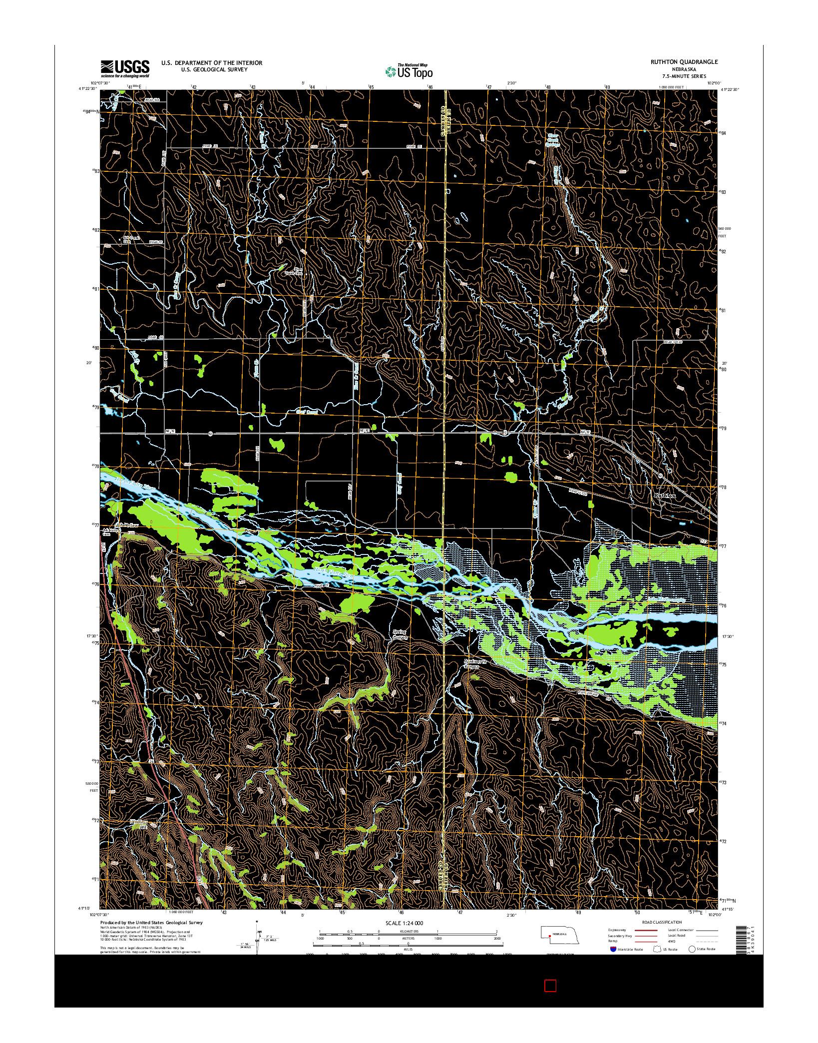 USGS US TOPO 7.5-MINUTE MAP FOR RUTHTON, NE 2014