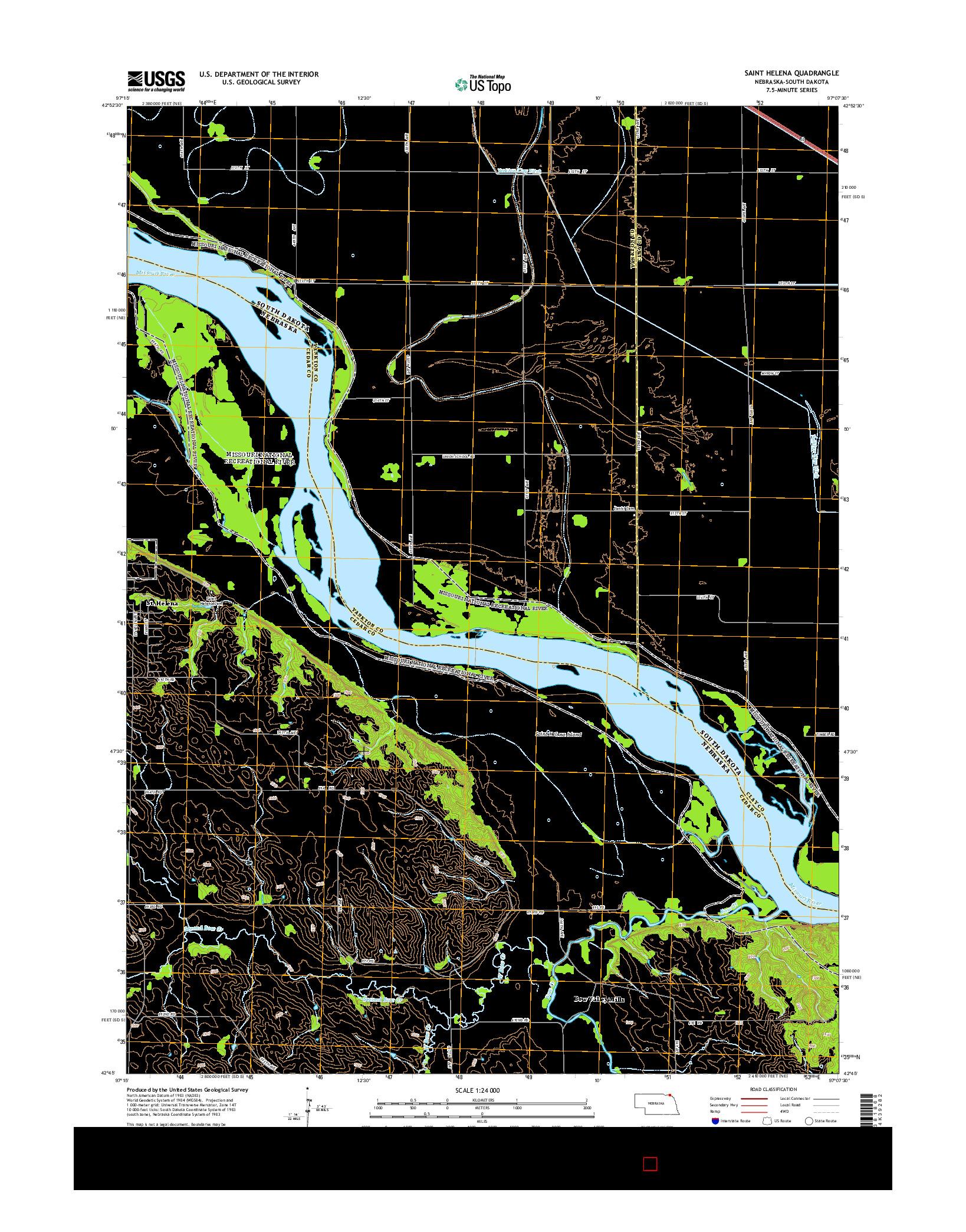 USGS US TOPO 7.5-MINUTE MAP FOR SAINT HELENA, NE-SD 2014