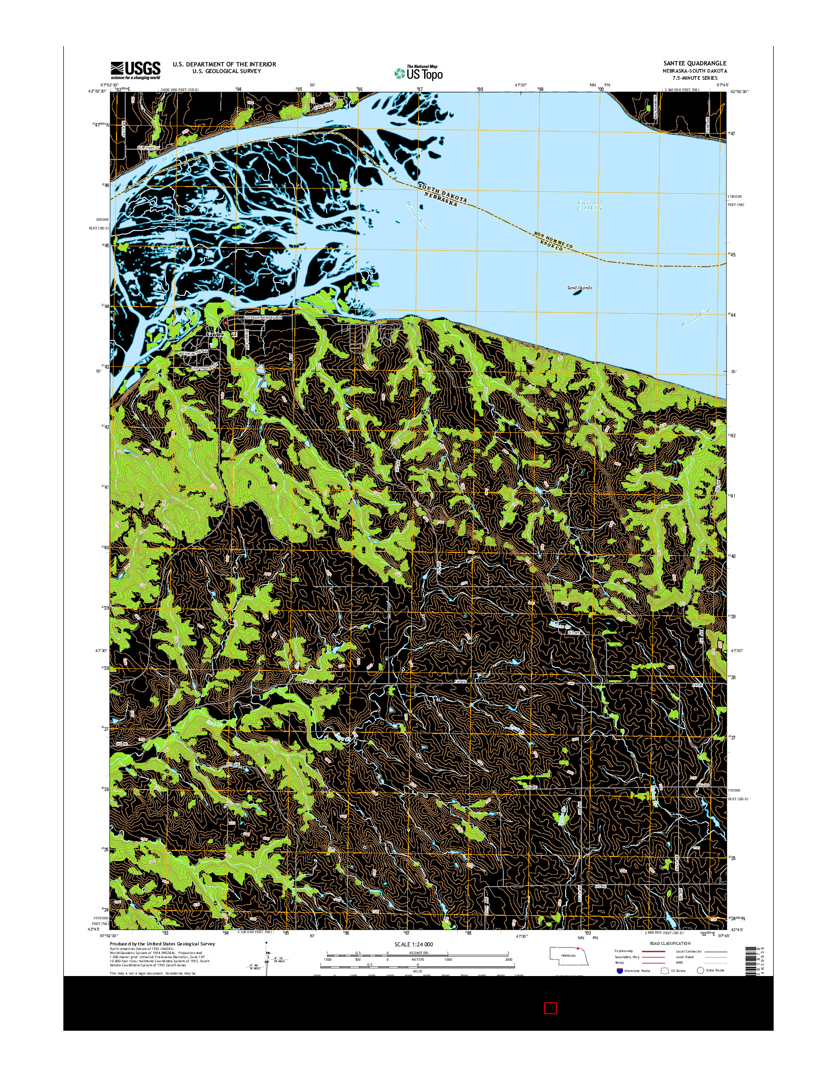 USGS US TOPO 7.5-MINUTE MAP FOR SANTEE, NE-SD 2014