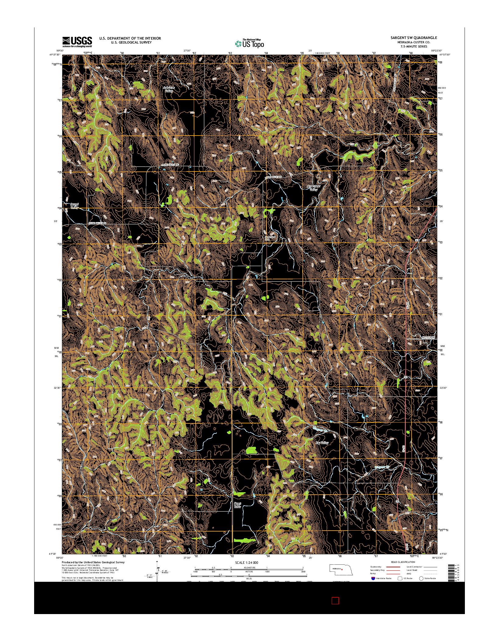 USGS US TOPO 7.5-MINUTE MAP FOR SARGENT SW, NE 2014