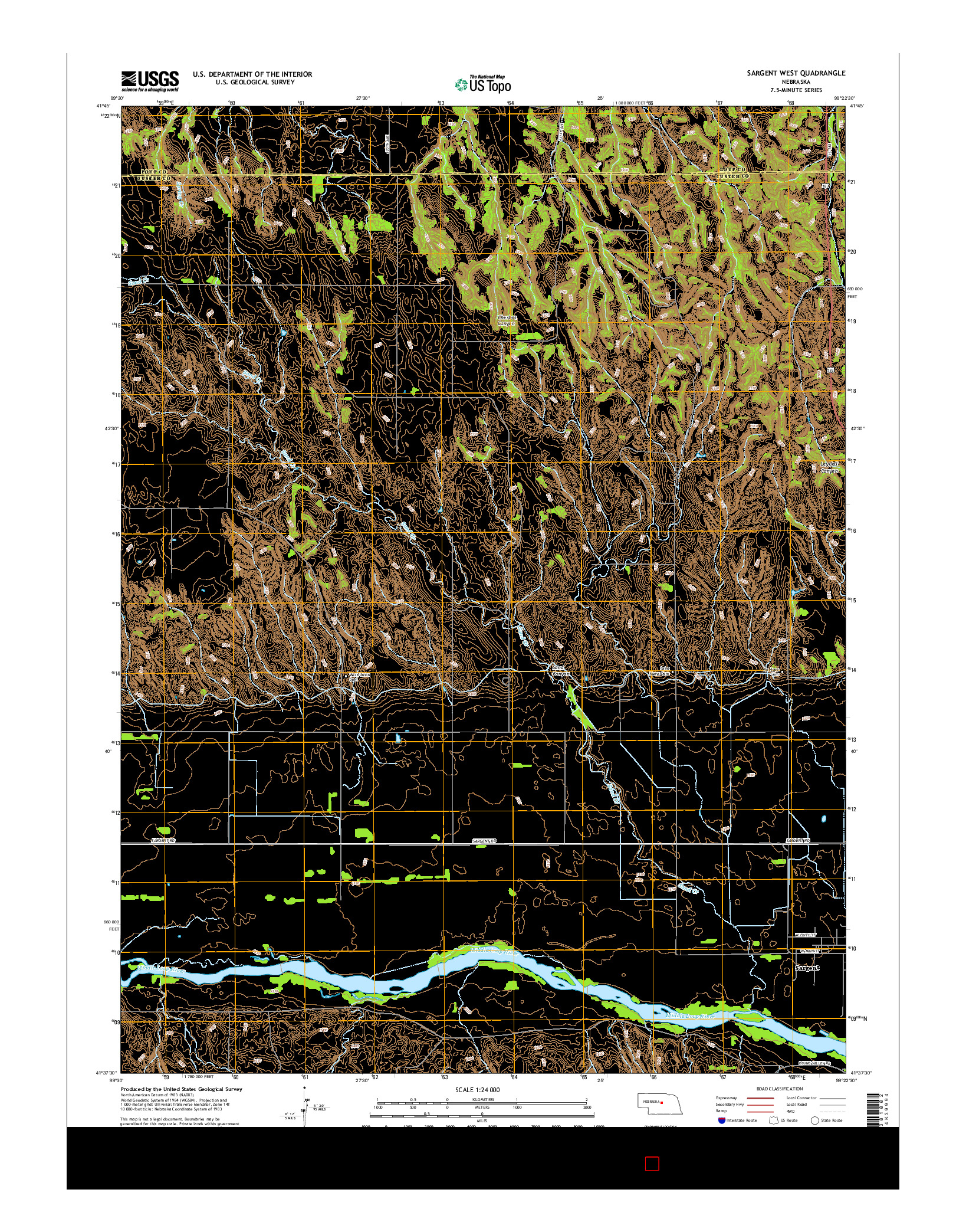 USGS US TOPO 7.5-MINUTE MAP FOR SARGENT WEST, NE 2014