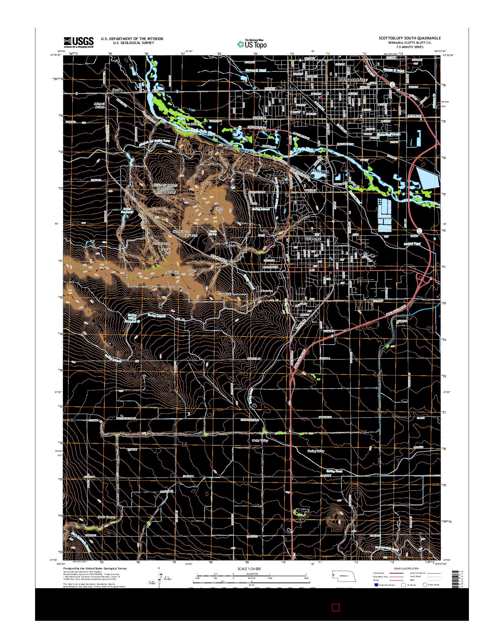 USGS US TOPO 7.5-MINUTE MAP FOR SCOTTSBLUFF SOUTH, NE 2014