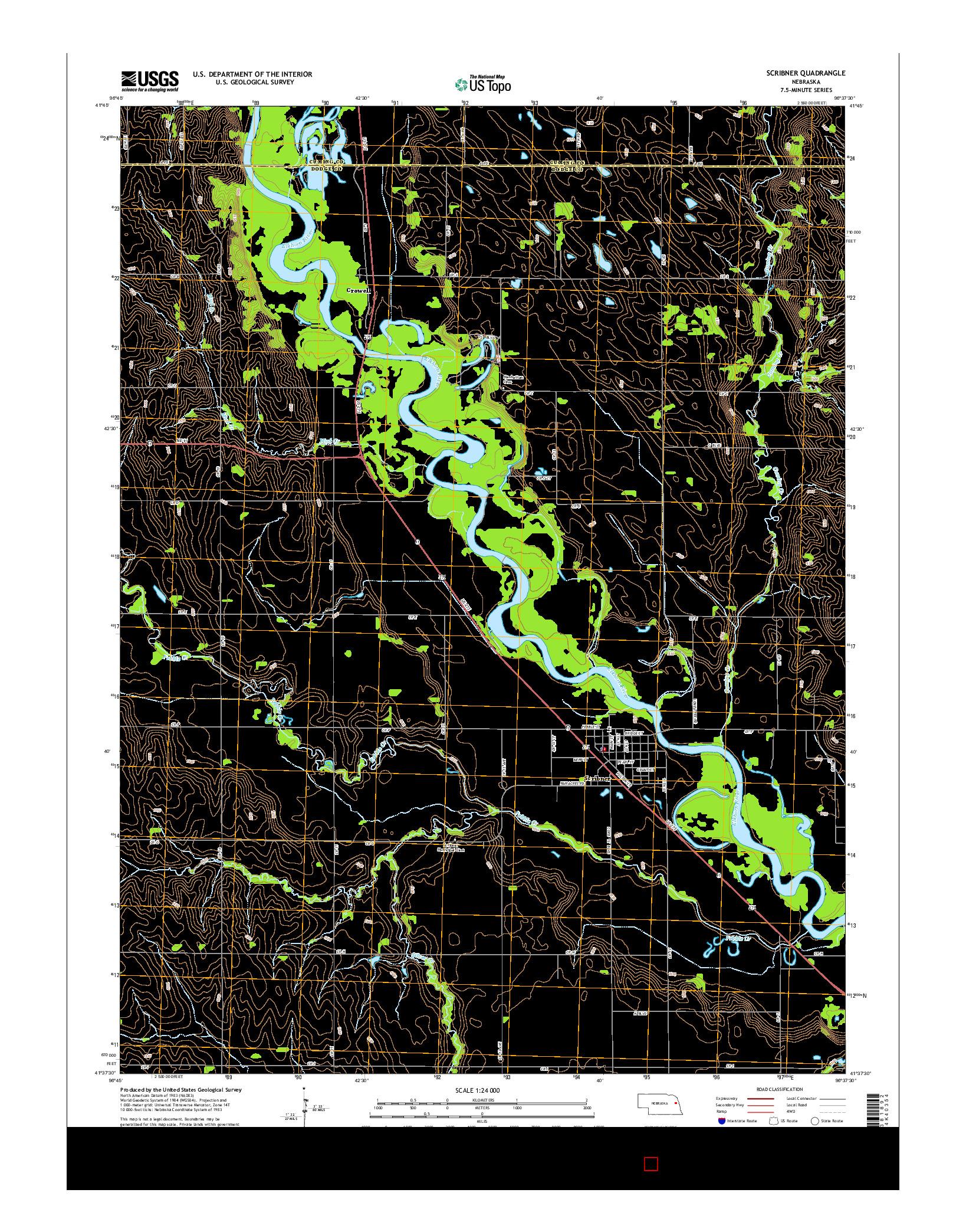 USGS US TOPO 7.5-MINUTE MAP FOR SCRIBNER, NE 2014