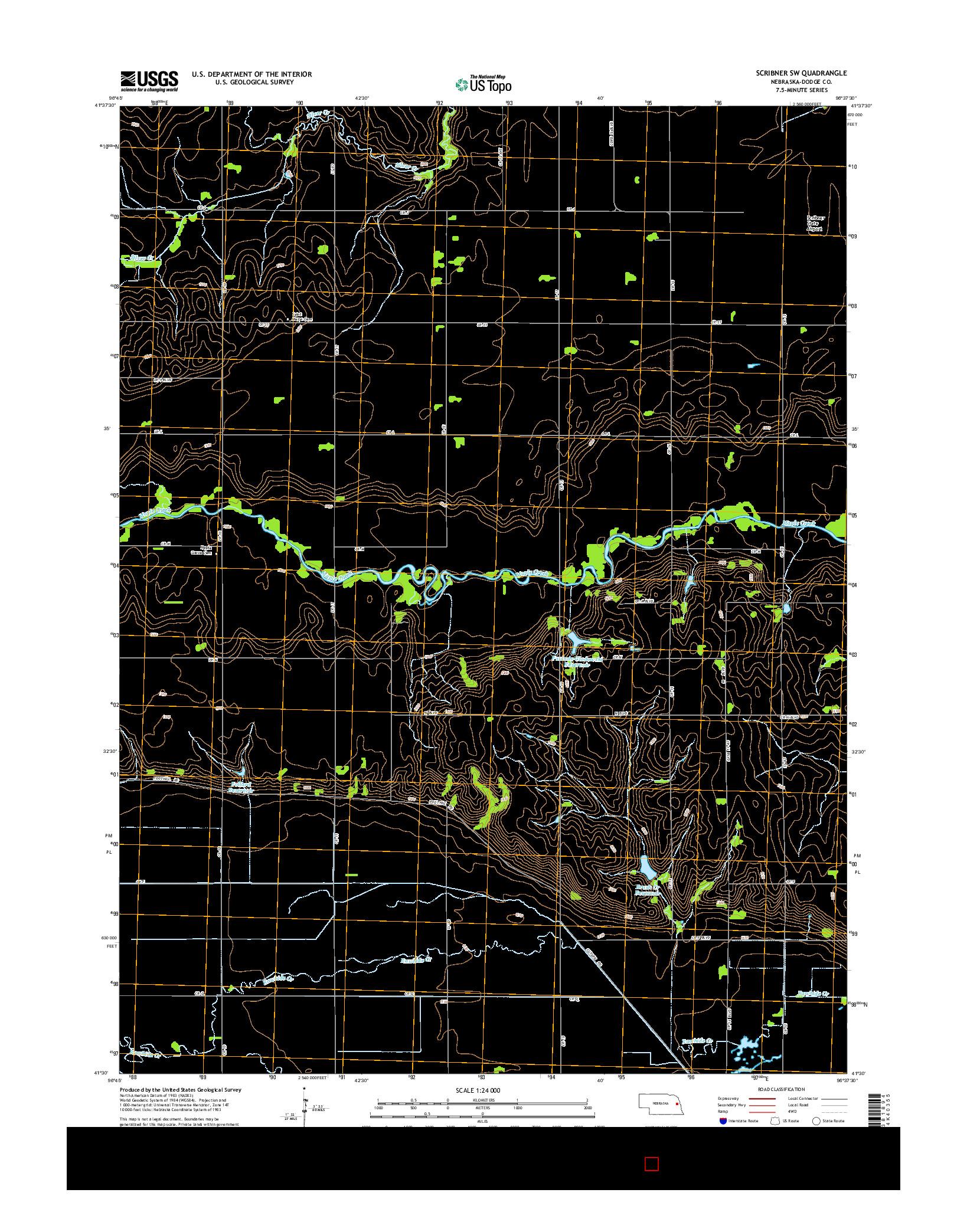 USGS US TOPO 7.5-MINUTE MAP FOR SCRIBNER SW, NE 2014