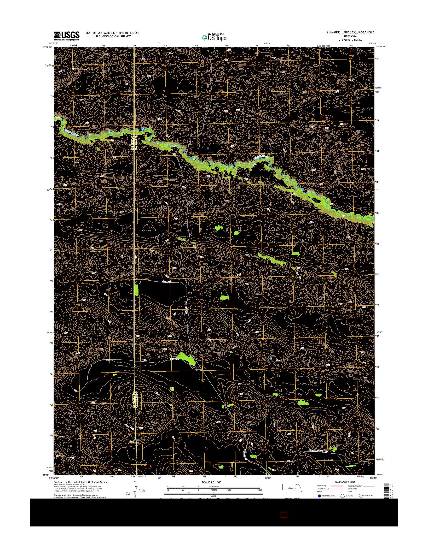 USGS US TOPO 7.5-MINUTE MAP FOR SHIMMINS LAKE SE, NE 2014