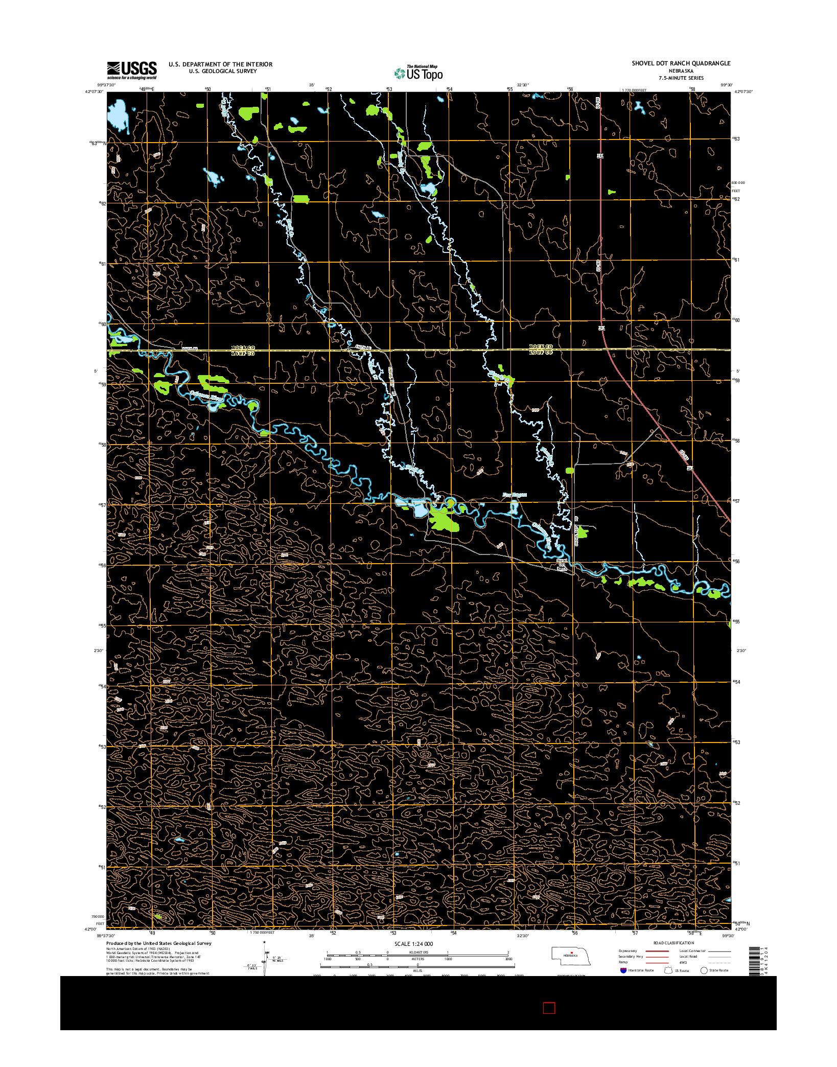 USGS US TOPO 7.5-MINUTE MAP FOR SHOVEL DOT RANCH, NE 2014