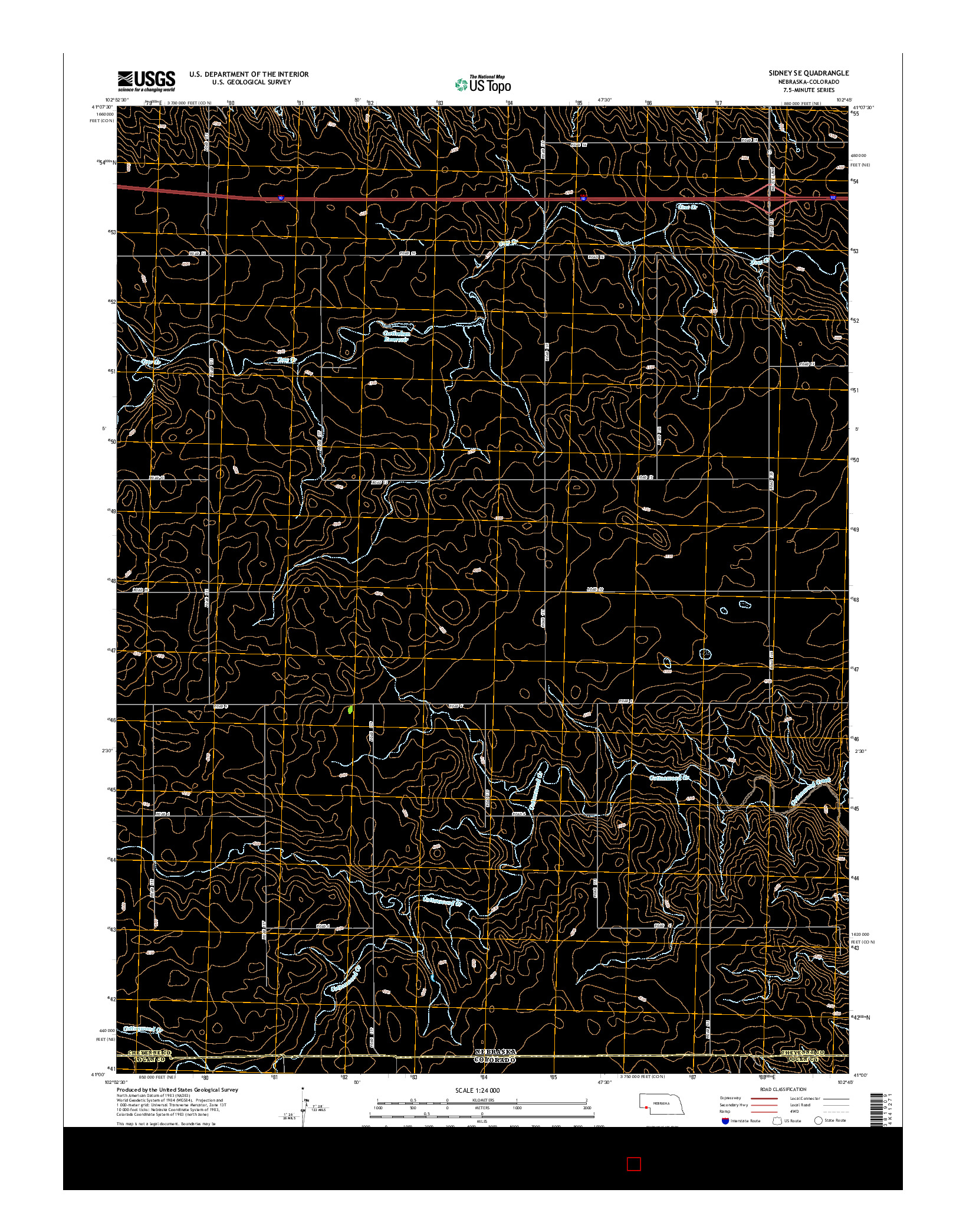 USGS US TOPO 7.5-MINUTE MAP FOR SIDNEY SE, NE-CO 2014