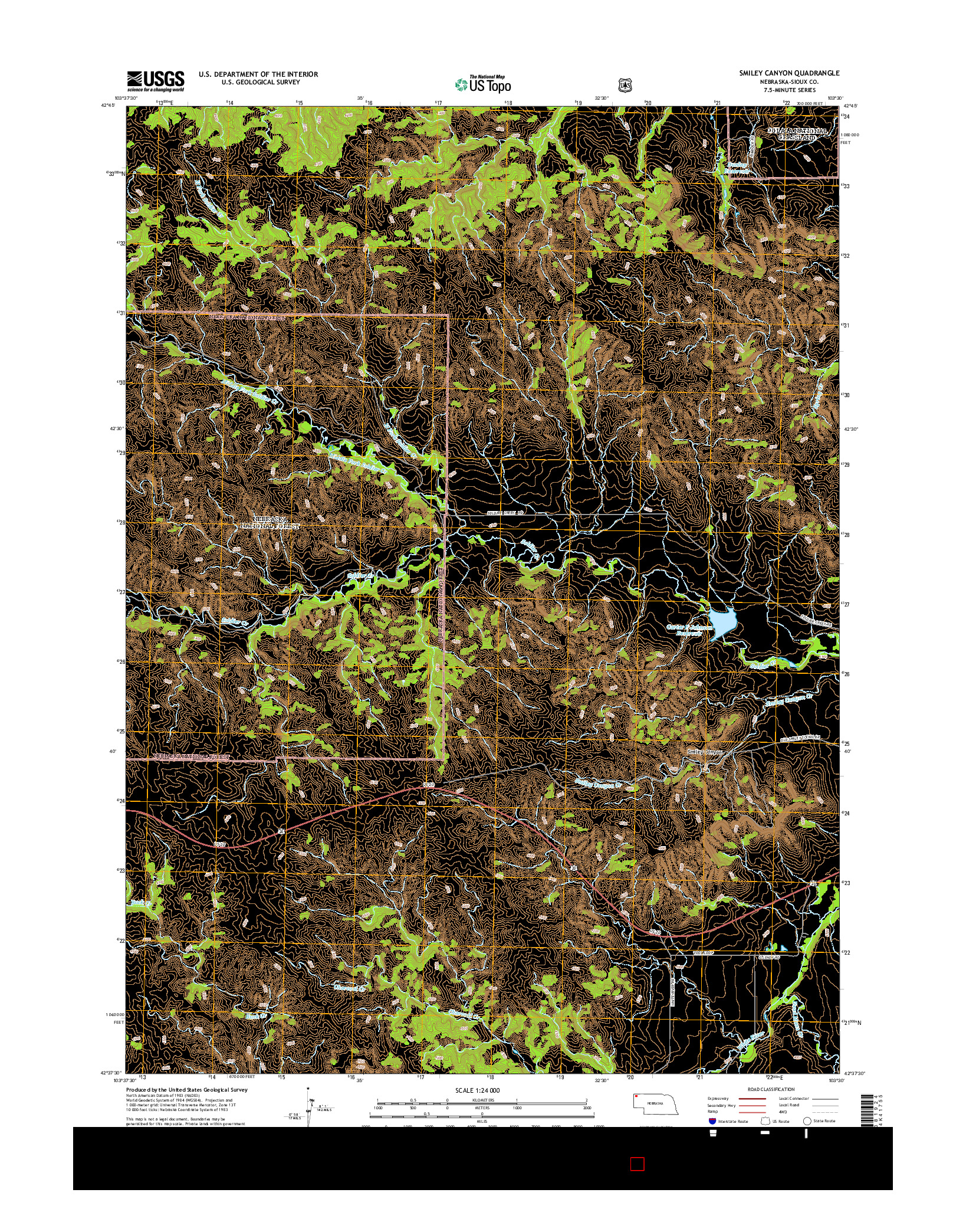 USGS US TOPO 7.5-MINUTE MAP FOR SMILEY CANYON, NE 2014